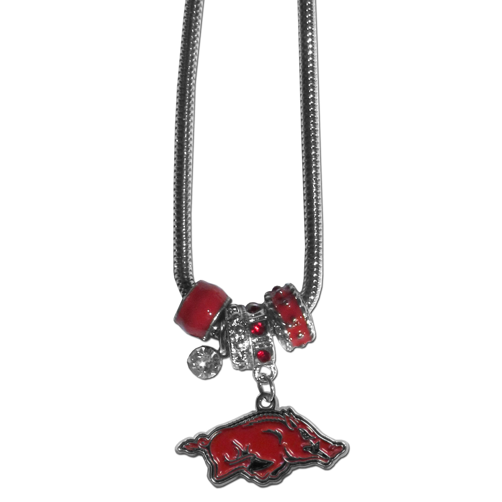 Arkansas Razorbacks Euro Bead Necklace - We have combined the wildly popular Euro style beads with your favorite team to create our Arkansas Razorbacks Euro bead necklace. The 18 inch snake chain features 4 Euro beads with enameled team colors and rhinestone accents with a high polish, nickel free charm and rhinestone charm. Arkansas Razorbacks Euro Bead Necklace is the perfect way to show off your team pride. Thank you for shopping with CrazedOutSports.com