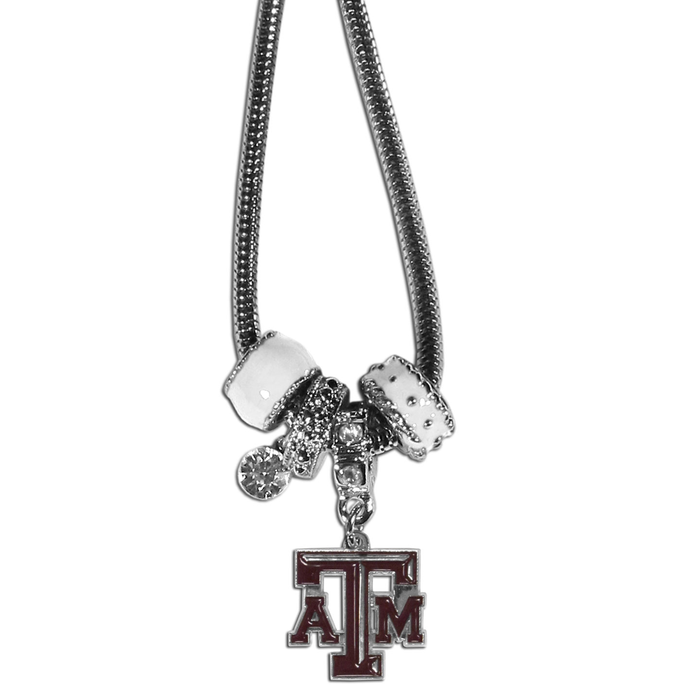 Texas AandM Aggies Euro Bead Necklace - We have combined the wildly popular Euro style beads with your favorite team to create our Texas A&M Aggies bead necklace. The 18 inch snake chain features 4 Euro beads with enameled team colors and rhinestone accents with a high polish, nickel free charm and rhinestone charm. Perfect way to show off your team pride. Thank you for shopping with CrazedOutSports.com