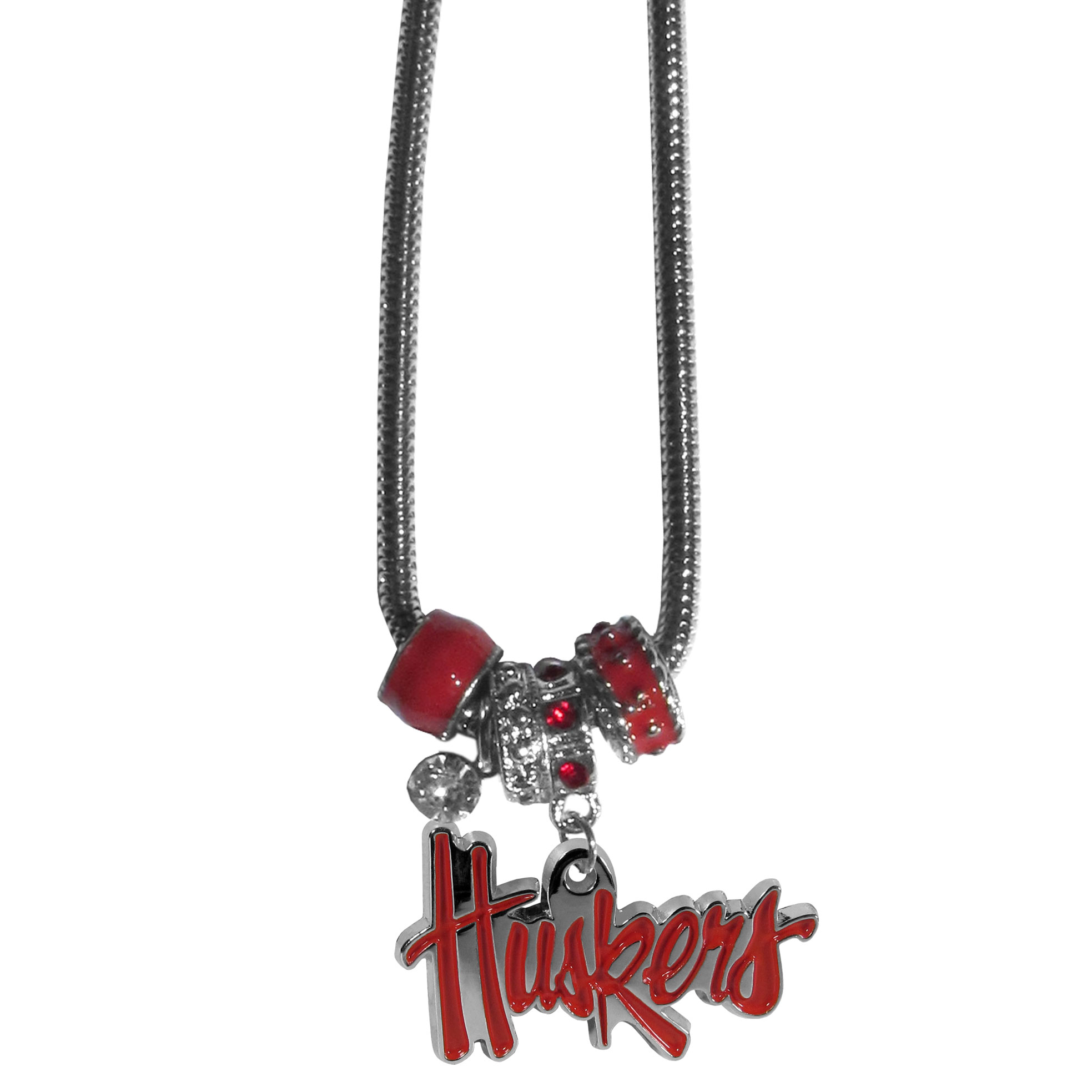 Nebraska Cornhuskers Euro Bead Necklace - We have combined the wildly popular Euro style beads with your favorite team to create our Nebraska Cornhuskers bead necklace. The 18 inch snake chain features 4 Euro beads with enameled team colors and rhinestone accents with a high polish, nickel free charm and rhinestone charm. Perfect way to show off your team pride. Thank you for shopping with CrazedOutSports.com