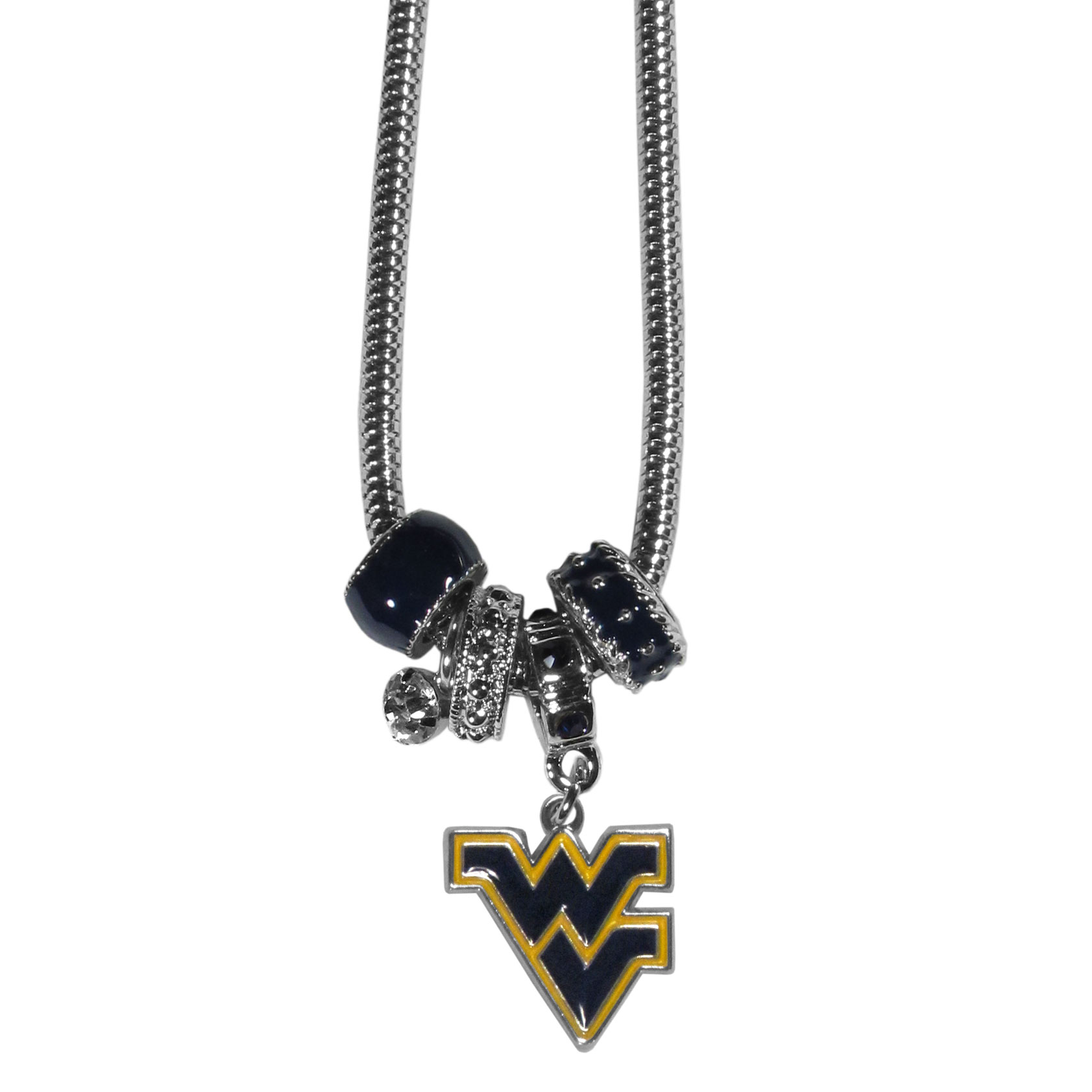 West Virginia Mountaineers Euro Bead Necklace - We have combined the wildly popular Euro style beads with your favorite team to create our West Virginia Mountaineers bead necklace. The 18 inch snake chain features 4 Euro beads with enameled team colors and rhinestone accents with a high polish, nickel free charm and rhinestone charm. Perfect way to show off your team pride. Thank you for shopping with CrazedOutSports.com