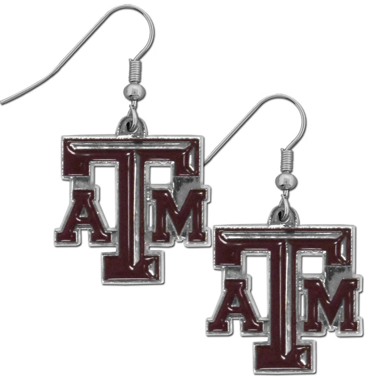 Texas A and M Aggies Chrome Dangle Earrings - Officially licensed collegiate Texas A & M Aggies dangle earrings have fully cast Texas A & M Aggies  charms with exceptional detail and a hand enameled finish. The earrings have a high polish nickel free chrome finish and hypoallergenic fishhook posts.