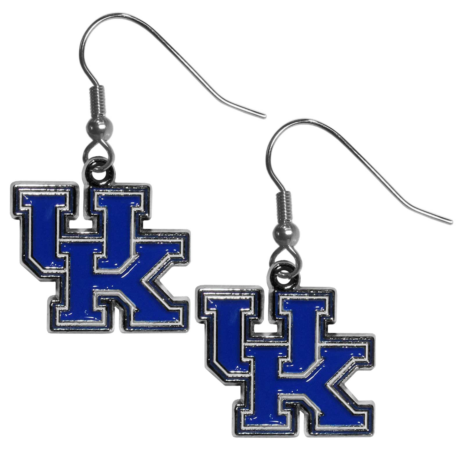 Kentucky Wildcats Chrome Dangle Earrings - Our officially licensed collegiate dangle earrings have fully cast Kentucky Wildcats charms with exceptional detail and a hand enameled finish. The earrings have a high polish nickel free chrome finish and hypoallergenic fishhook posts.