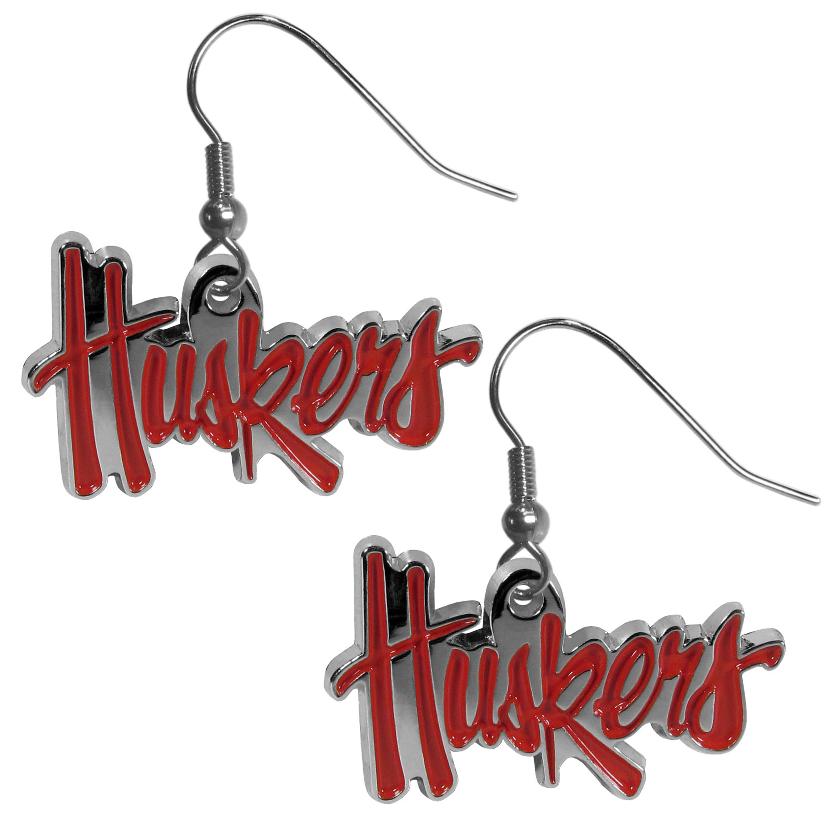 Nebraska Cornhuskers Chrome Dangle Earrings - Our officially licensed collegiate dangle earrings have fully cast Nebraska Cornhuskers charms with exceptional detail and a hand enameled finish. The earrings have a high polish nickel free chrome finish and hypoallergenic fishhook posts.