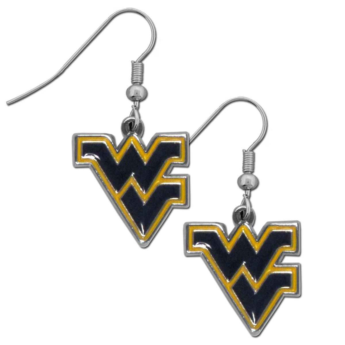 W. Virginia Mountaineers Chrome Dangle Earrings - Officially licensed collegiate W. Virginia Mountaineers dangle earrings have fully cast W. Virginia Mountaineers charms with exceptional detail and a hand enameled finish. The earrings have a high polish nickel free chrome finish and hypoallergenic fishhook posts.