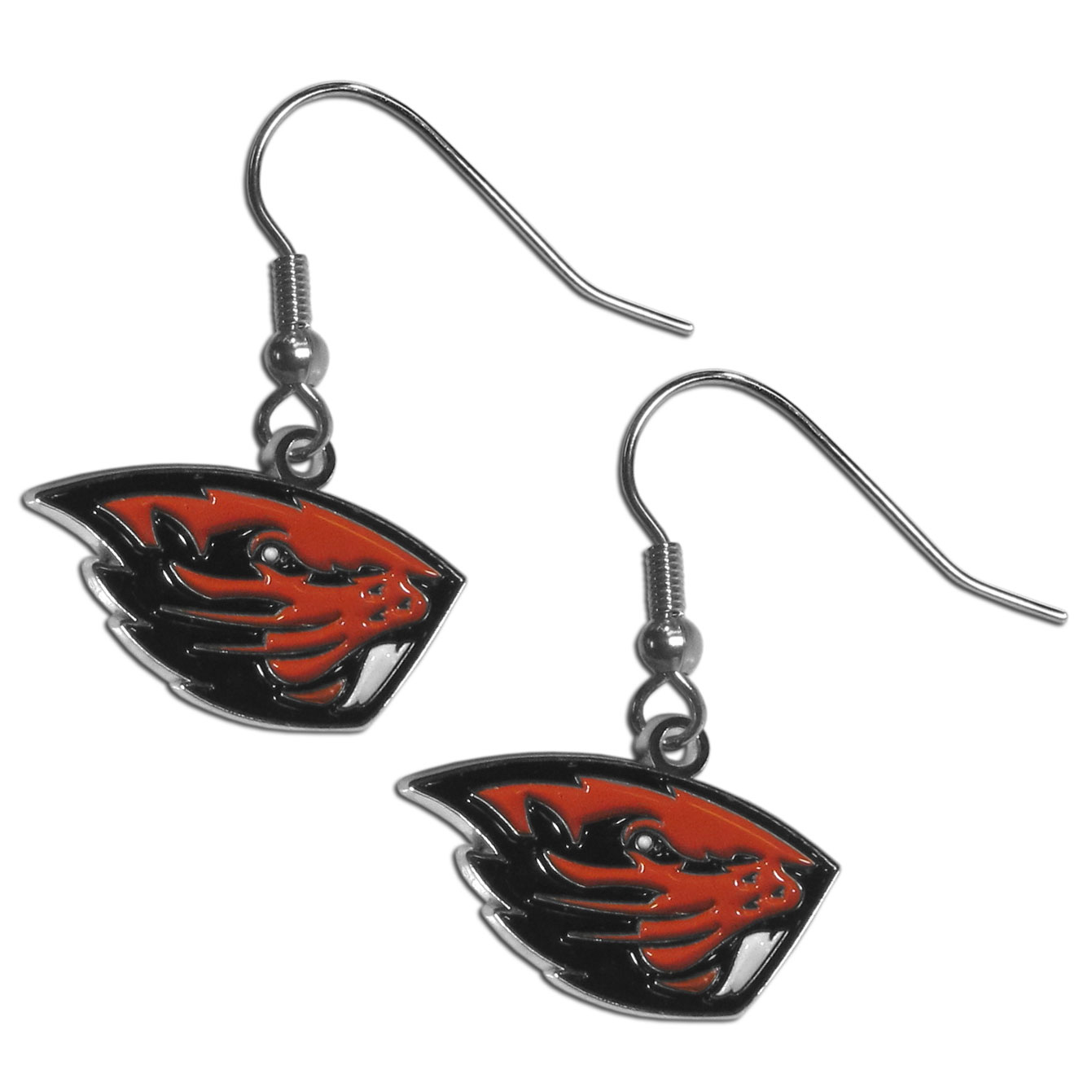 Oregon St. Beavers Chrome Dangle Earrings - Our officially licensed collegiate dangle earrings have fully cast Oregon St. Beavers charms with exceptional detail and a hand enameled finish. The earrings have a high polish nickel free chrome finish and hypoallergenic fishhook posts.