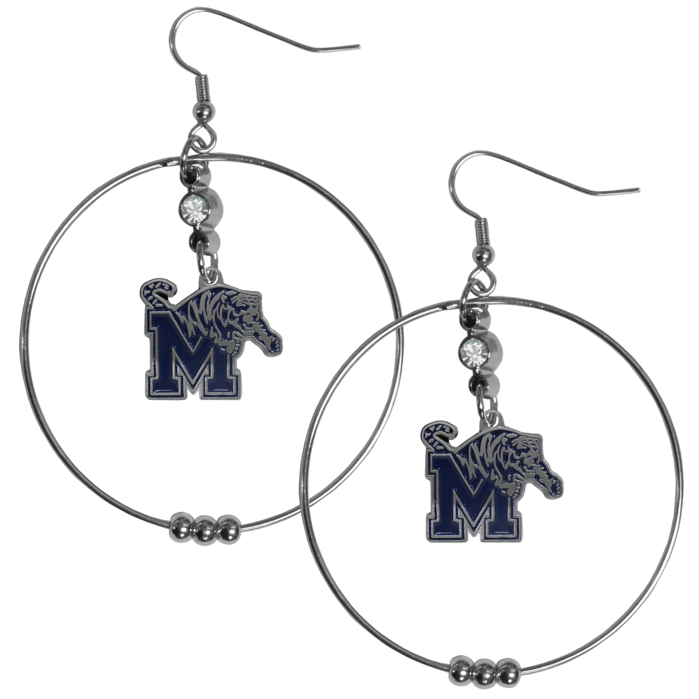 Memphis Tigers 2 Inch Hoop Earrings - Our large hoop earrings have a fully cast and enameled Memphis Tigers charm with enameled detail and a high polish nickel free chrome finish and rhinestone access. Hypoallergenic fishhook posts.