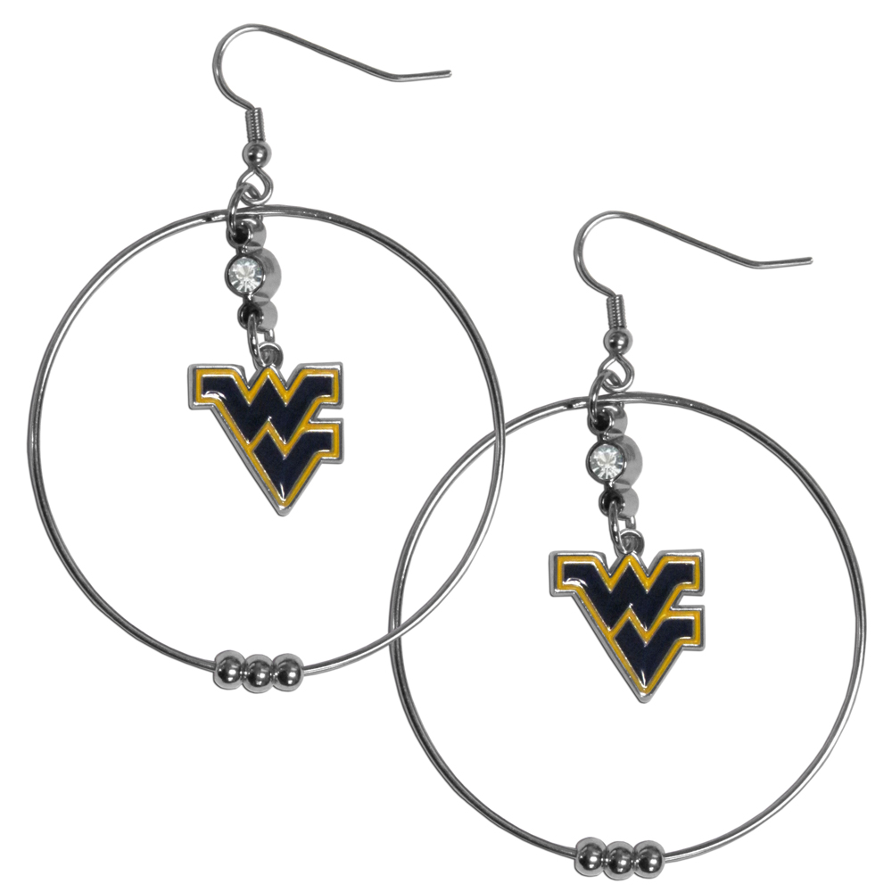 W. Virginia Mountaineers 2 Inch Hoop Earrings - Our large hoop earrings have a fully cast and enameled W. Virginia Mountaineers charm with enameled detail and a high polish nickel free chrome finish and rhinestone access. Hypoallergenic fishhook posts.
