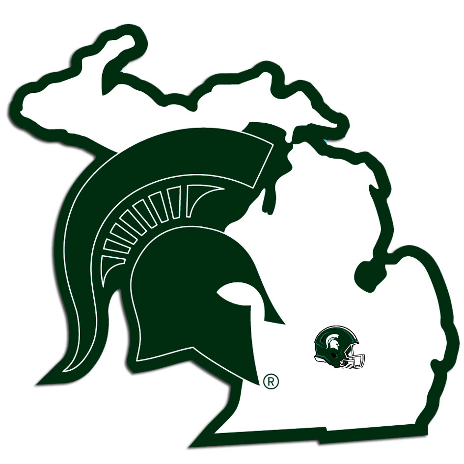 Michigan St. Spartans Home State Decal - Michigan St. Spartans Home State Decal is a home state decal with a sporty twist! This Michigan St. Spartans Home State Decal features the team logo over a silhouette of the state in team colors and a heart marking the home of the team. The Michigan St. Spartans Home State Decal is approximately 5 inches on repositionable vinyl.