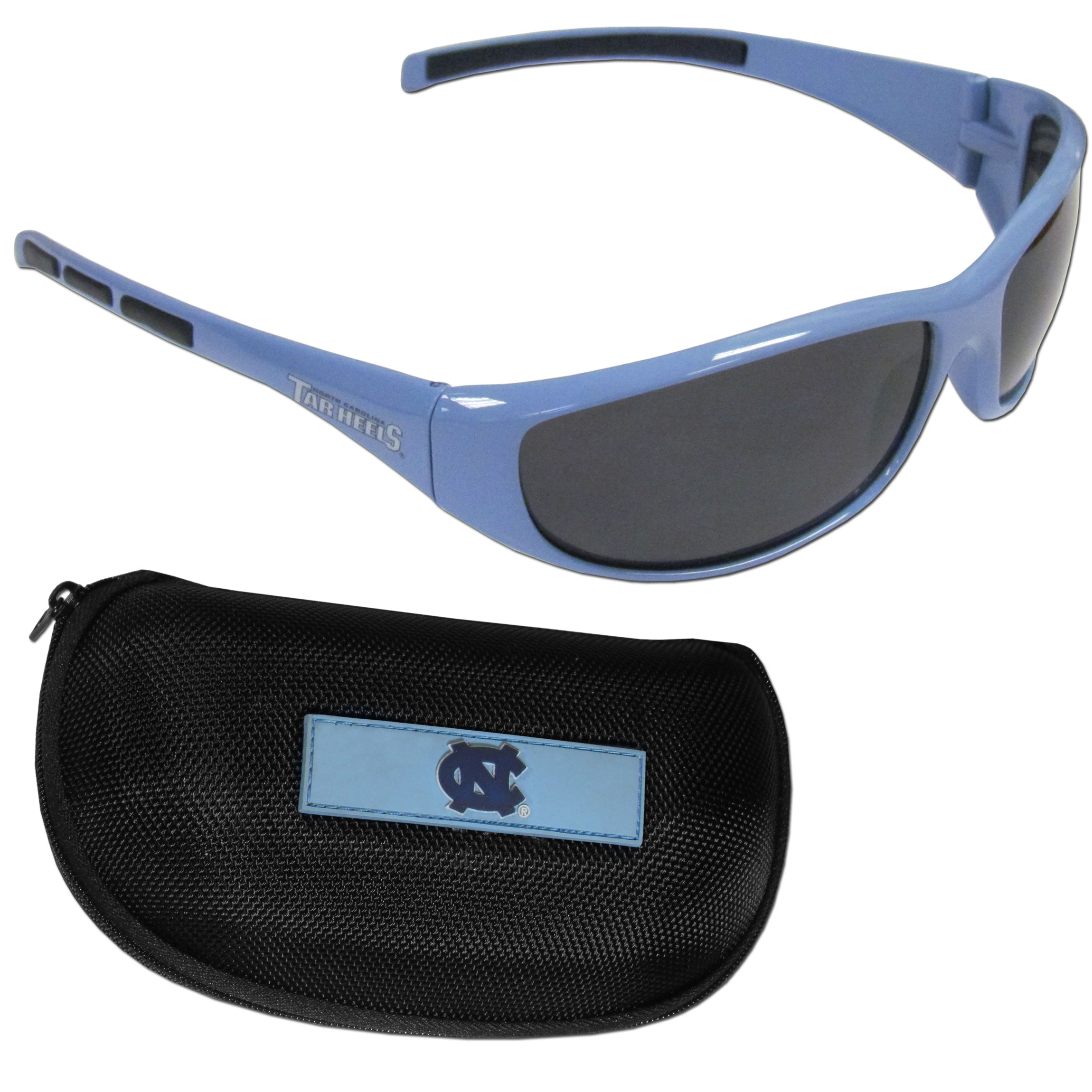 N. Carolina Tar Heels Wrap Sunglass and Case Set - This great set includes a high quality pair of N. Carolina Tar Heels wrap sunglasses and hard carrying case.