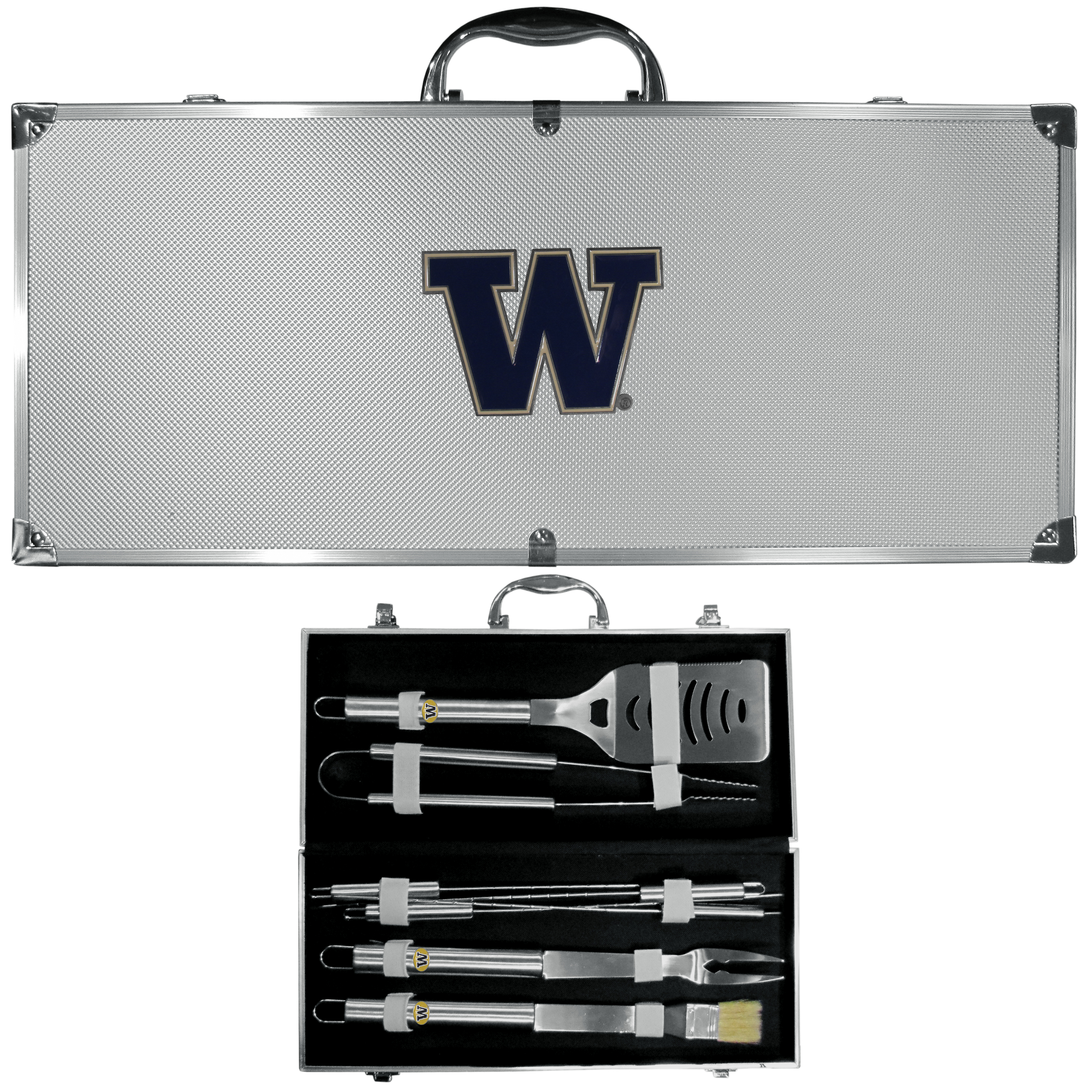 Washington Huskies 8 pc Stainless Steel BBQ Set w/Metal Case - Our 8 pc BBQ set includes a spatula with knife edge, grill fork, tongs, basting brush and 4 skewers. The tools are approximately 19 inch long and have sturdy stainless steel handles. The aluminum carrying case features a metal carved Washington Huskies emblem with enameled finish.