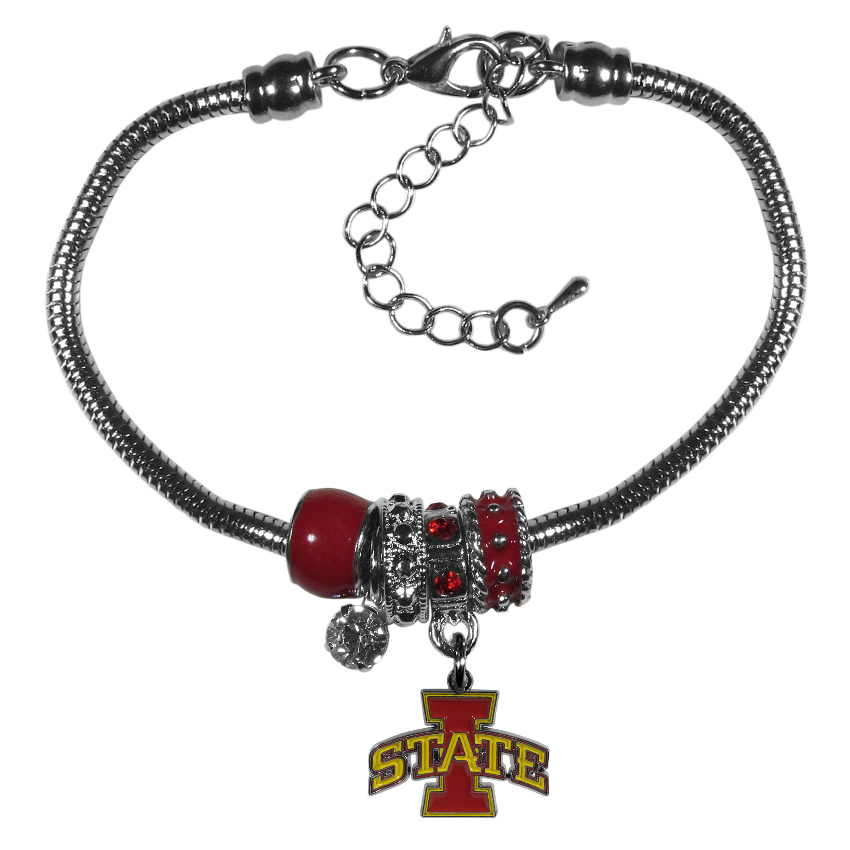 Iowa St. Cyclones Euro Bead Bracelet - We have combined the wildly popular Euro style beads with your favorite team to create our  Iowa St. Cyclones Euro bead bracelet. The 7.5 inch snake chain with 2 inch extender features 4 Euro beads with enameled team colors and rhinestone accents with a high polish, nickel free charm and rhinestone charm. Perfect way to show off your team pride.