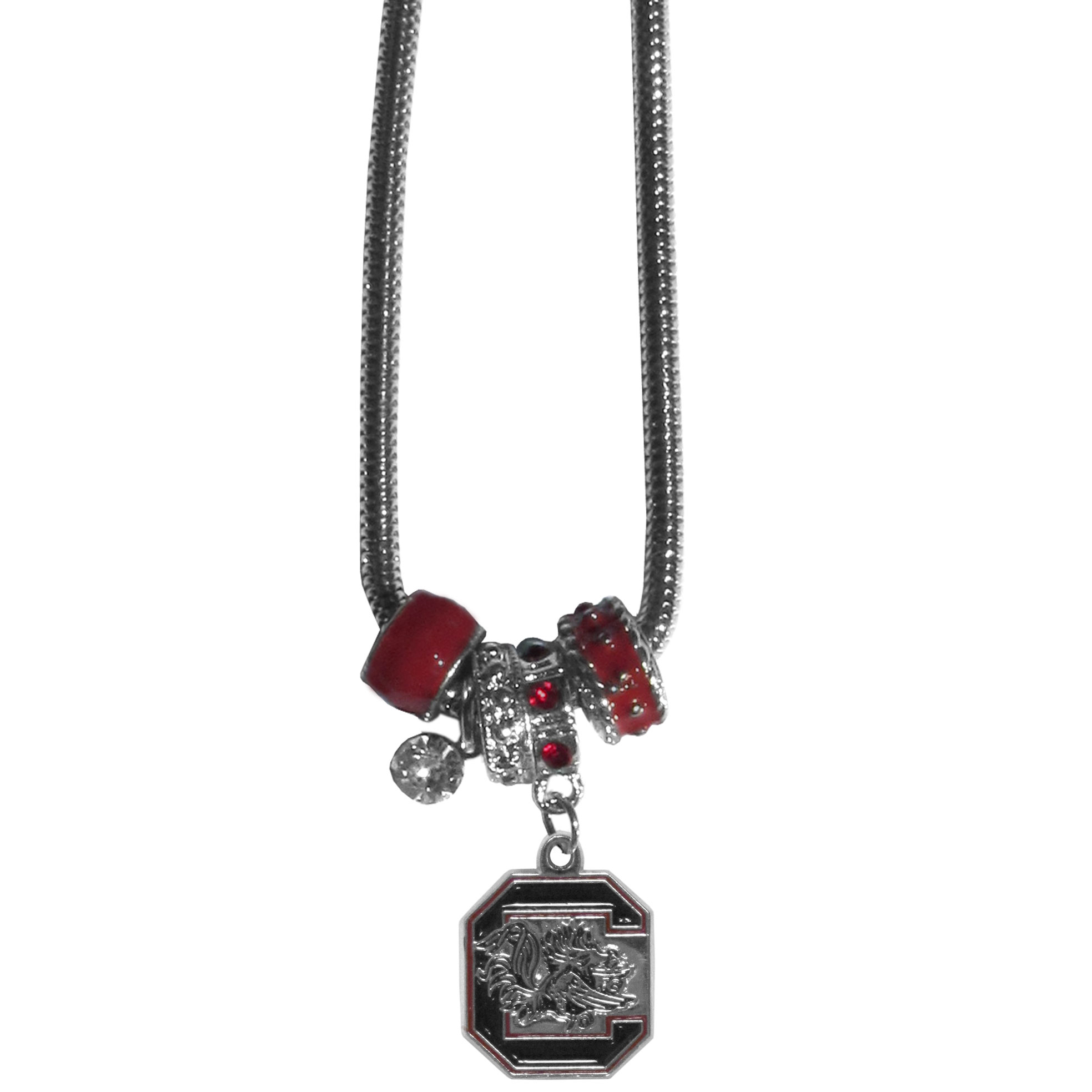 S. Carolina Gamecocks Euro Bead Necklace - We have combined the wildly popular Euro style beads with your favorite team to create our S. Carolina Gamecocks bead necklace. The 18 inch snake chain features 4 Euro beads with enameled team colors and rhinestone accents with a high polish, nickel free charm and rhinestone charm. Perfect way to show off your team pride. Thank you for shopping with CrazedOutSports.com