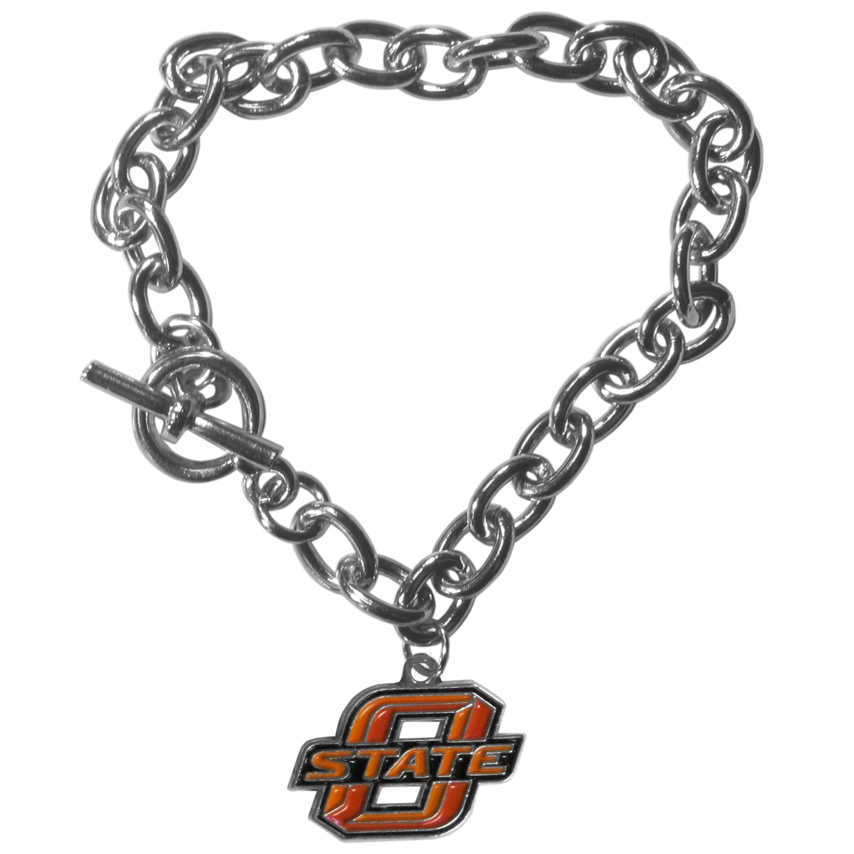 Oklahoma St. Cowboys Charm Chain Bracelets - Our classic single charm bracelet is a great way to show off your team pride! The 7.5 inch large link chain features a high polish Oklahoma St. Cowboys charm and features a toggle clasp which makes it super easy to take on and off.