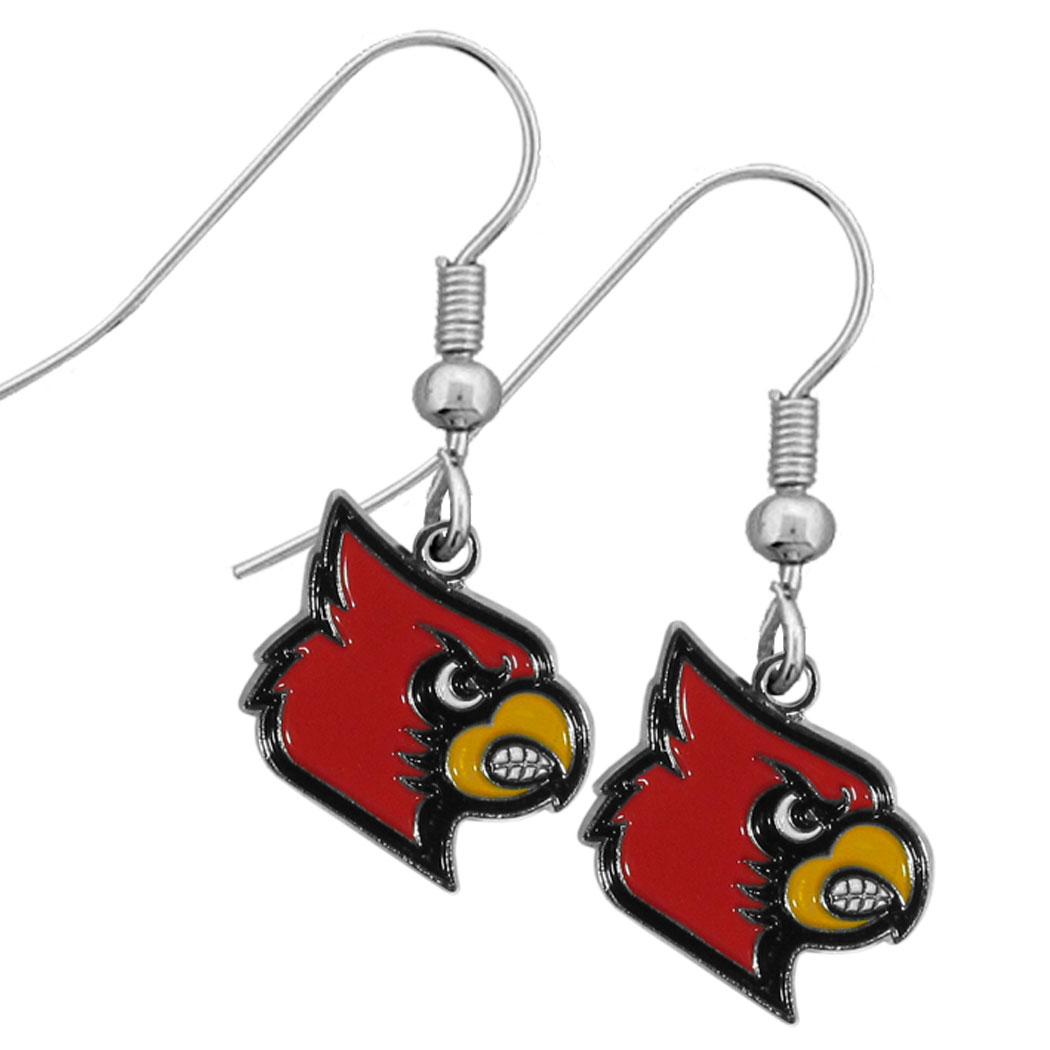 Louisville Cardinals Chrome Dangle Earrings - Our officially licensed collegiate dangle earrings have fully cast Louisville Cardinals charms with exceptional detail and a hand enameled finish. The earrings have a high polish nickel free chrome finish and hypoallergenic fishhook posts.