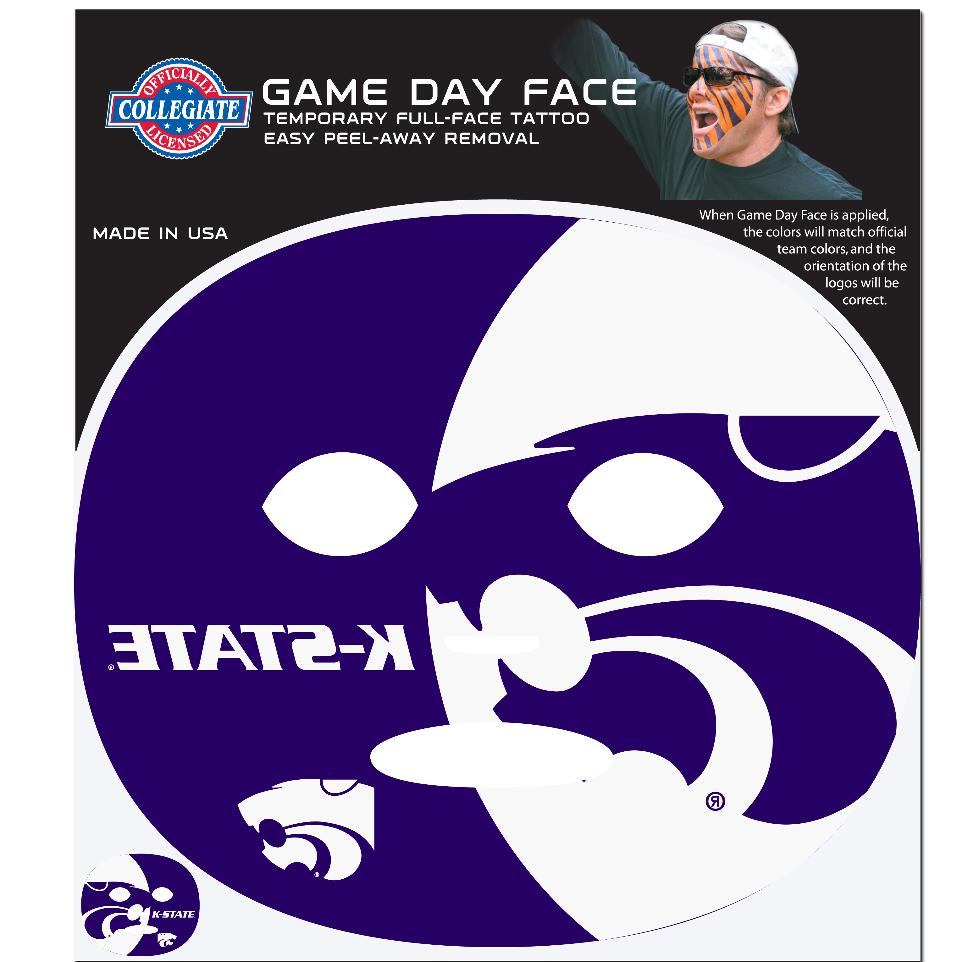 Kansas St. Wildcats Set of 4 Game Day Faces - No better way to show your team pride than by painting your face. Siskiyou's Game Day Face Temporary Tattoo isn't your typical face paint. It is a water based application that doesn't smudge, smear or sweat off while you're wearing it and easily peels off after you're done celebrating your team's big Win! The temporary tattoo is large enough to trim down to fit your face. Our Game Day Face Temporary Tattoo's are fun for fans of all ages. You may have seen our product before, these are the same Temporary Face Tattoos as pitched on ABC's Shark Tank.