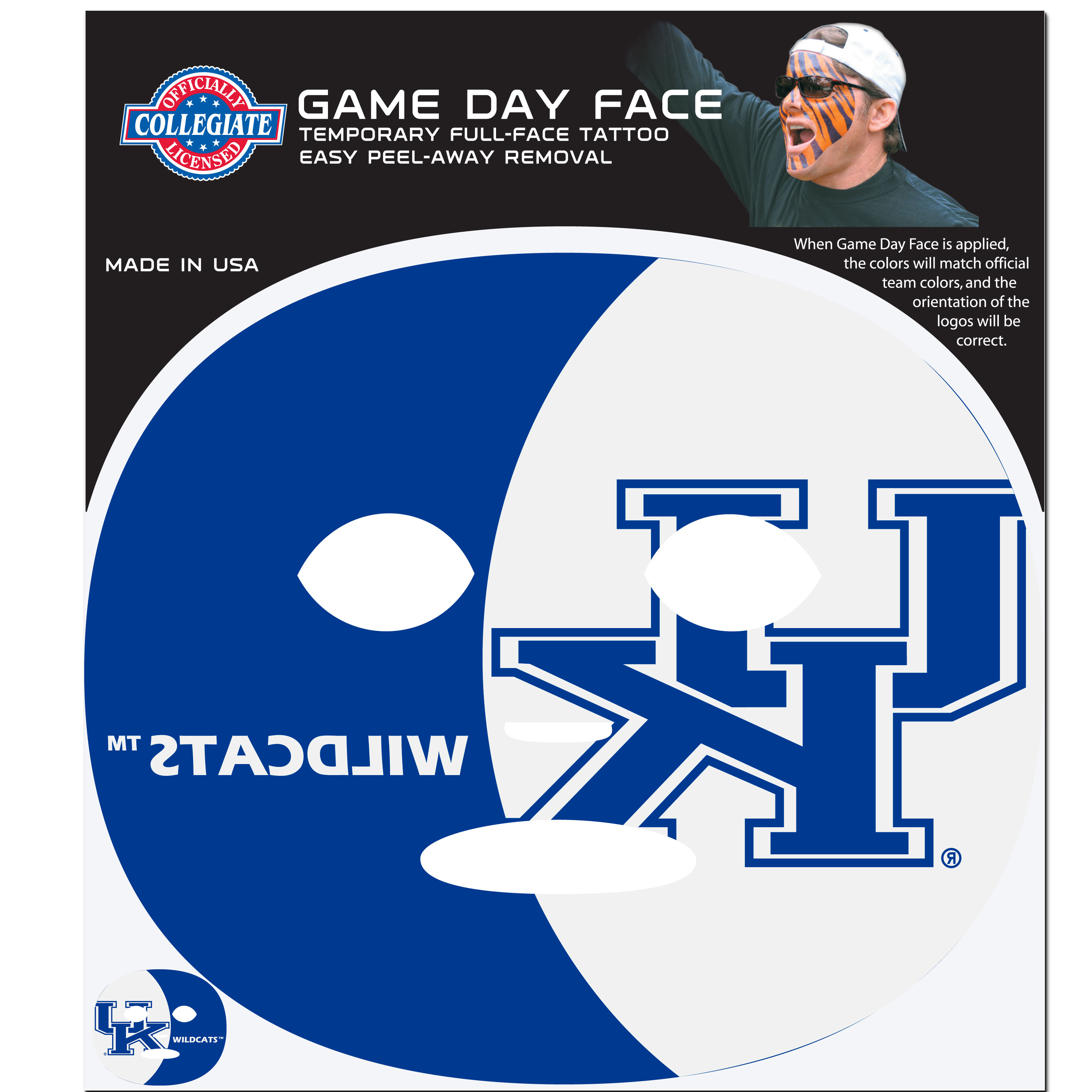 Kentucky Wildcats Set of 4 Game Day Faces - No better way to show your team pride than by painting your face. Siskiyou's Game Day Face Temporary Tattoo isn't your typical face paint. It is a water based application that doesn't smudge, smear or sweat off while you're wearing it and easily peels off after you're done celebrating your team's big Win! The temporary tattoo is large enough to trim down to fit your face. Our Game Day Face Temporary Tattoo's are fun for fans of all ages. You may have seen our product before, these are the same Temporary Face Tattoos as pitched on ABC's Shark Tank.