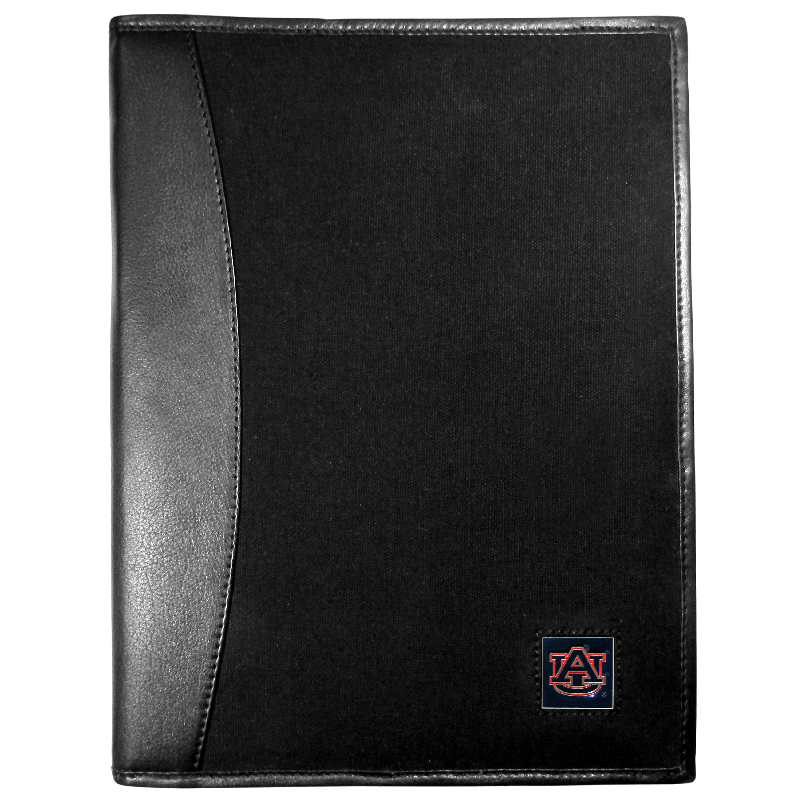 Auburn Tigers Leather and Canvas Padfolio - Our leather and canvas padfolio perfectly blends form and function. The attractive portfolio is bound in fine grain leather with an attractive canvas finish and the interior is a soft nylon. This high quality business accessory also features a fully cast metal Auburn Tigers emblem that is subtly set in the corner of the organizer. It is packed with features like 6 card slots for badges, business cards, hotel keys or credit cards and ID with a large pocket for loose papers and a writing tablet slot making it a must-have for the professional on the go.