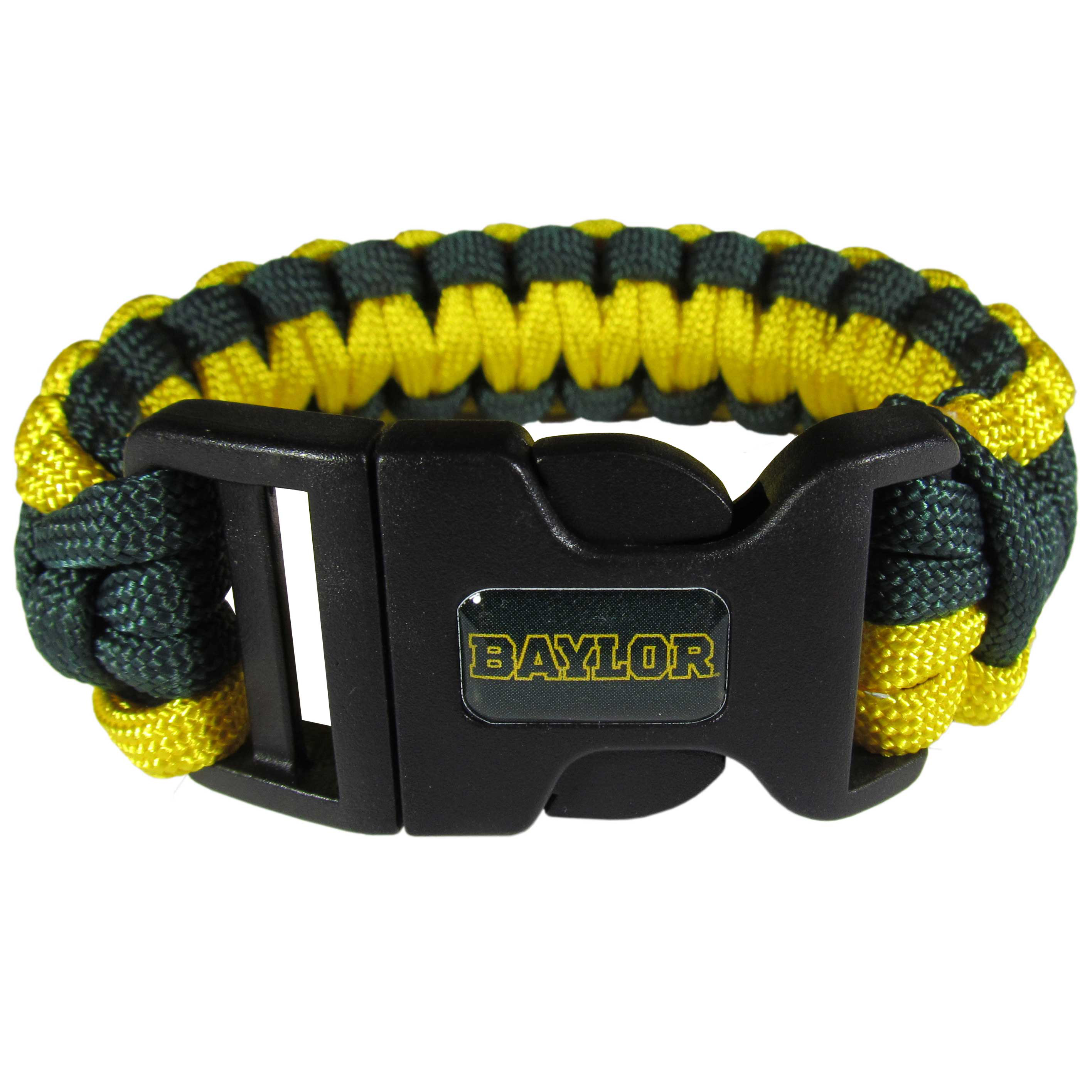 Baylor Bears Survivor Bracelet - Our functional and fashionable  survivor bracelets contain 2 individual 300lb test paracord rated cords that are each 5 feet long. The team colored cords can be pulled apart to be used in any number of emergencies and look great while worn. The bracelet features a team emblem on the clasp.