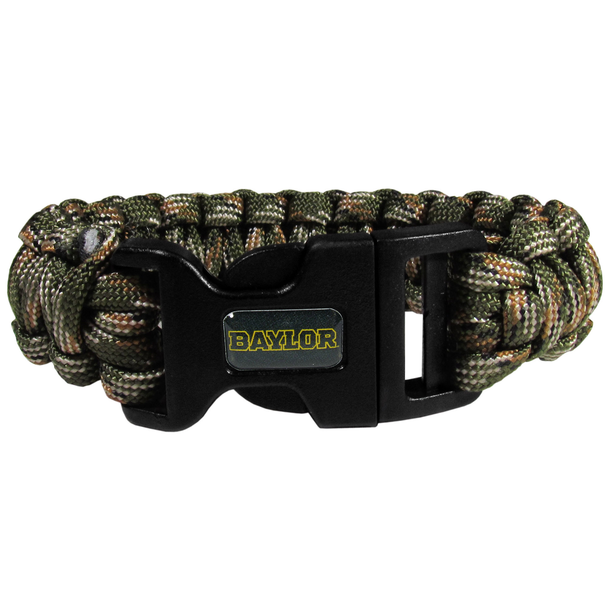 Baylor Bears Camo Survivor Bracelet - Our functional and fashionable  camo survivor bracelets contain 2 individual 300lb test paracord rated cords that are each 5 feet long. The camo cords can be pulled apart to be used in any number of emergencies and look great while worn. The bracelet features a team emblem on the clasp.