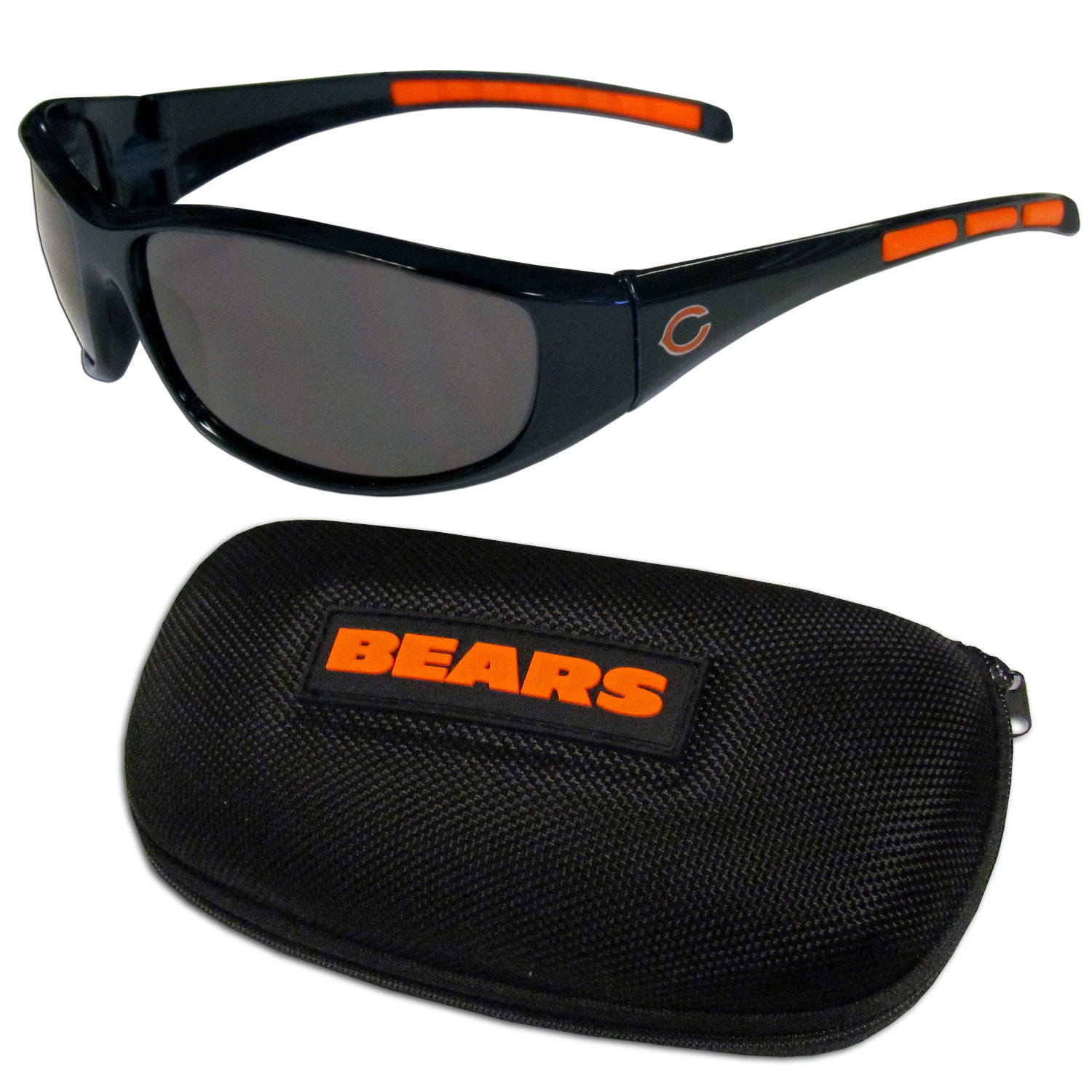 Chicago Bears Wrap Sunglass and Case Set - This great set includes a high quality pair of Chicago Bears wrap sunglasses and hard carrying case.