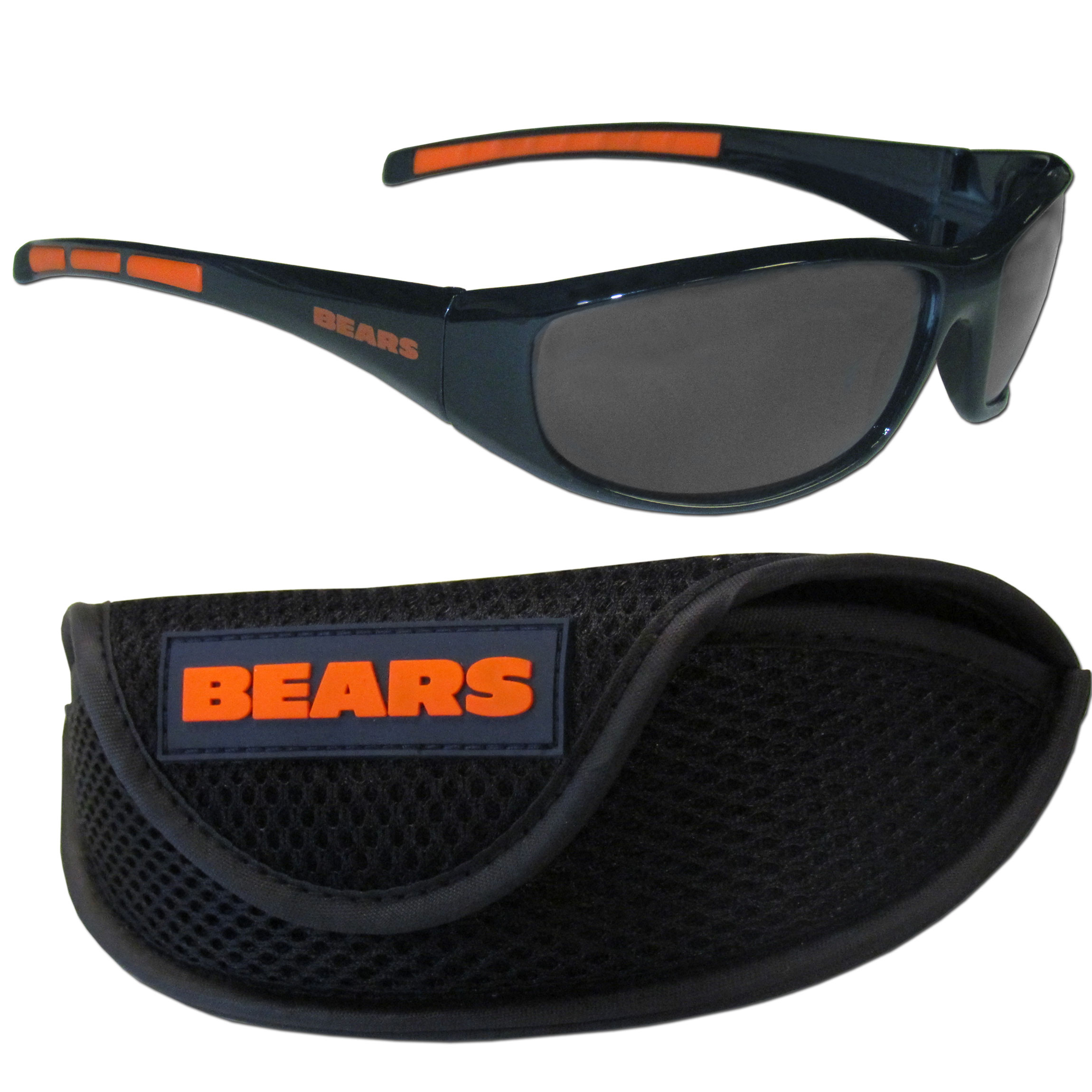 Chicago Bears Wrap Sunglass and Case Set - This great set includes a high quality pair of Chicago Bears wrap sunglasses and sport carrying case.