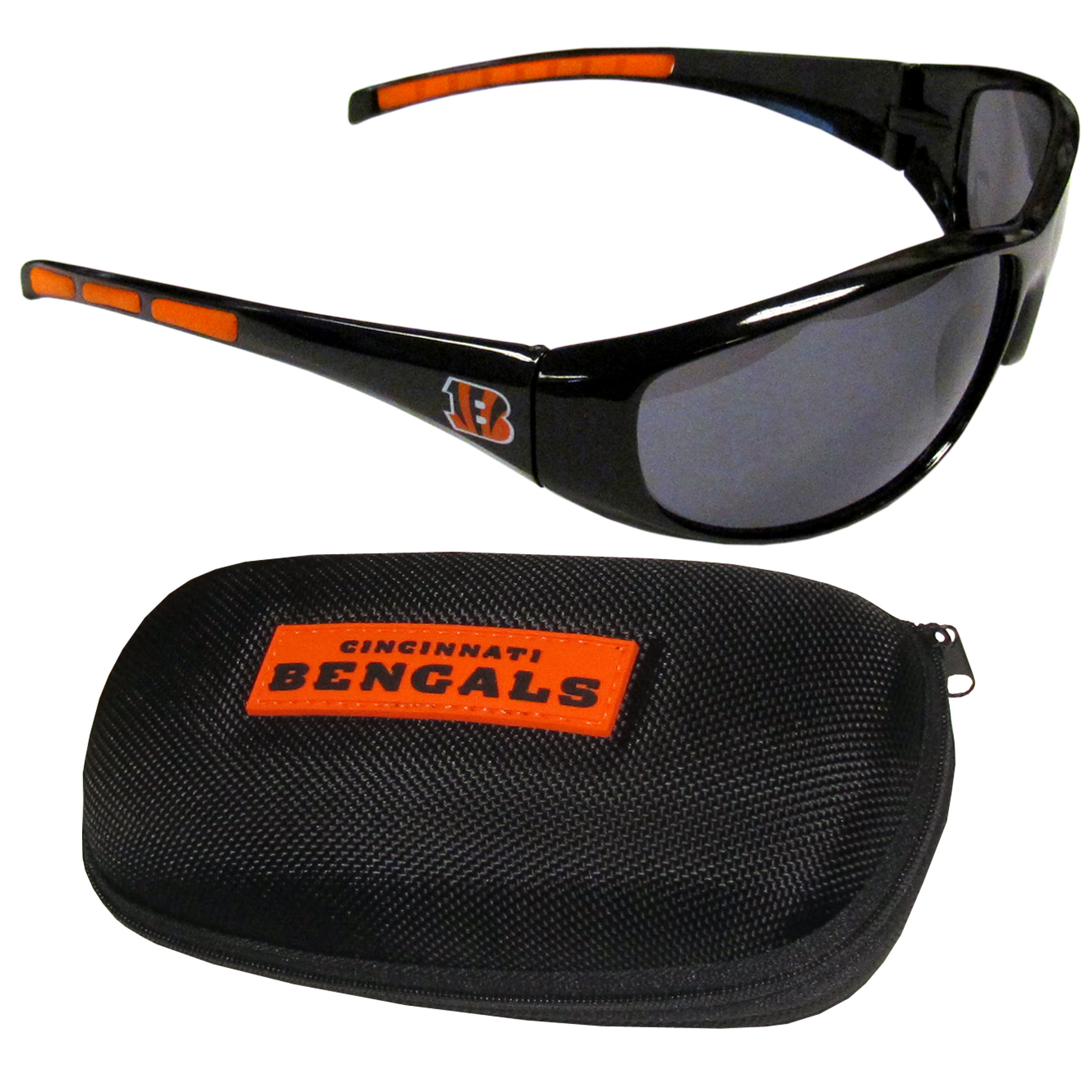 Cincinnati Bengals Wrap Sunglass and Case Set - This great set includes a high quality pair of Cincinnati Bengals wrap sunglasses and hard carrying case.