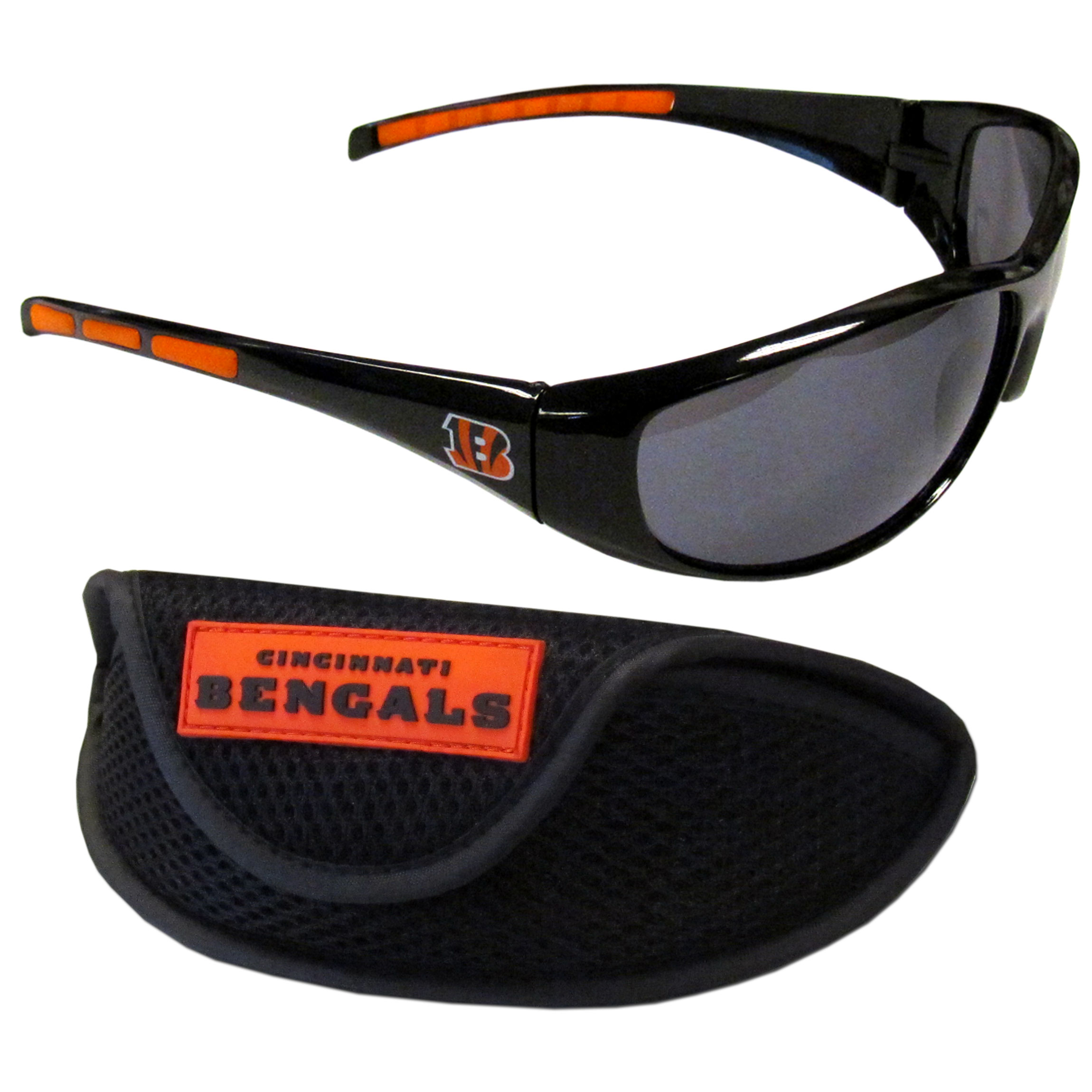 Cincinnati Bengals Wrap Sunglass and Case Set - This great set includes a high quality pair of Cincinnati Bengals wrap sunglasses and sport carrying case.