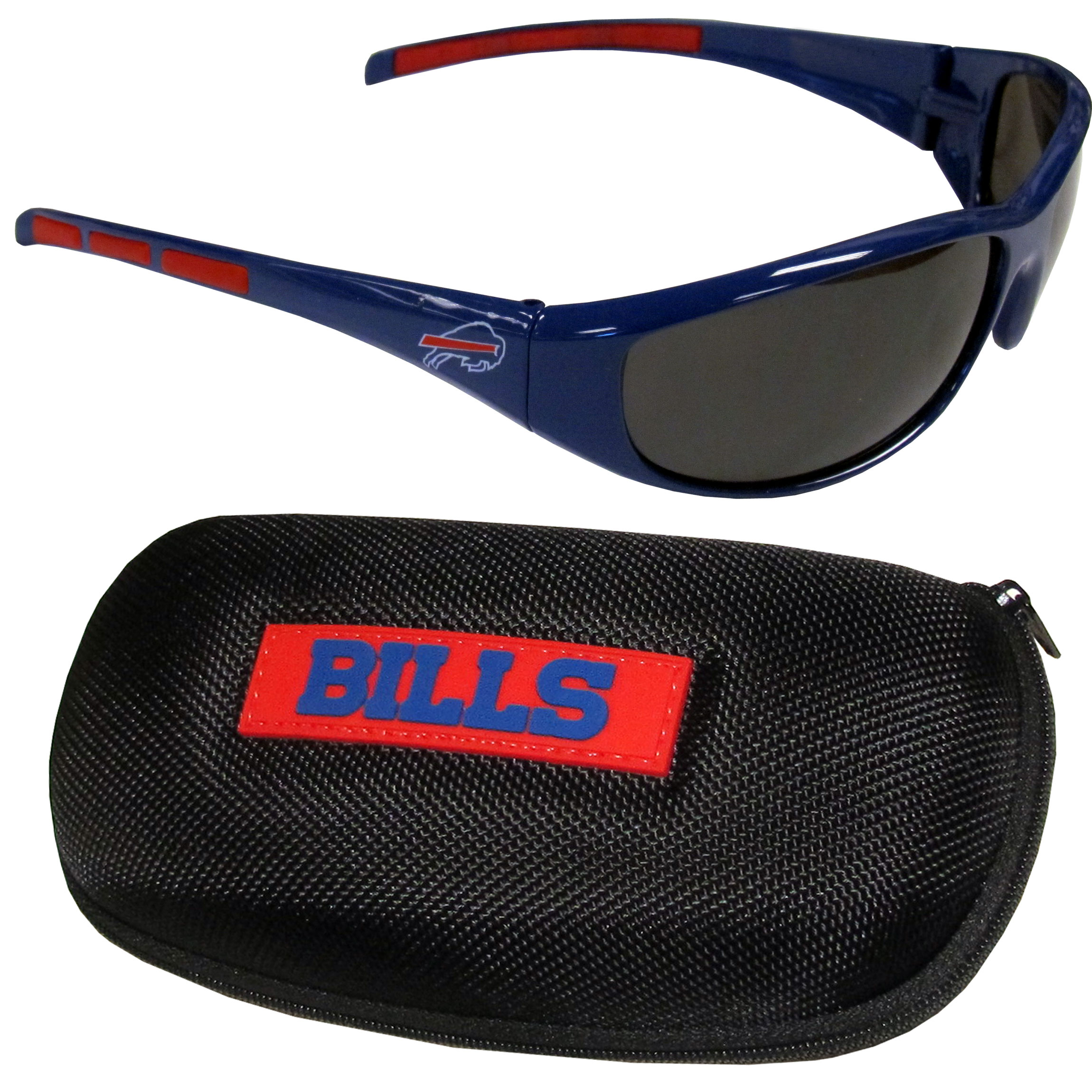 Buffalo Bills Wrap Sunglass and Case Set - This great set includes a high quality pair of Buffalo Bills wrap sunglasses and hard carrying case.