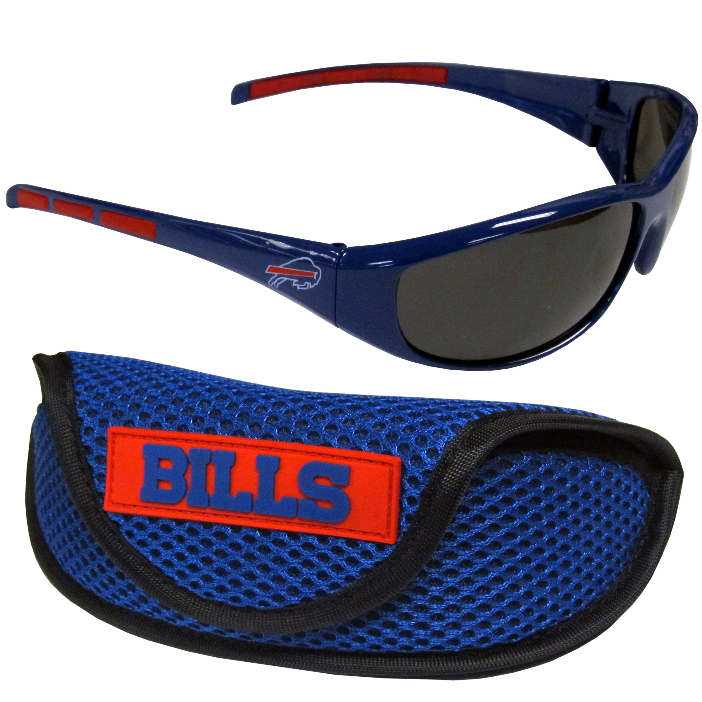 Buffalo Bills Wrap Sunglass and Case Set - This great set includes a high quality pair of Buffalo Bills wrap sunglasses and sport carrying case.