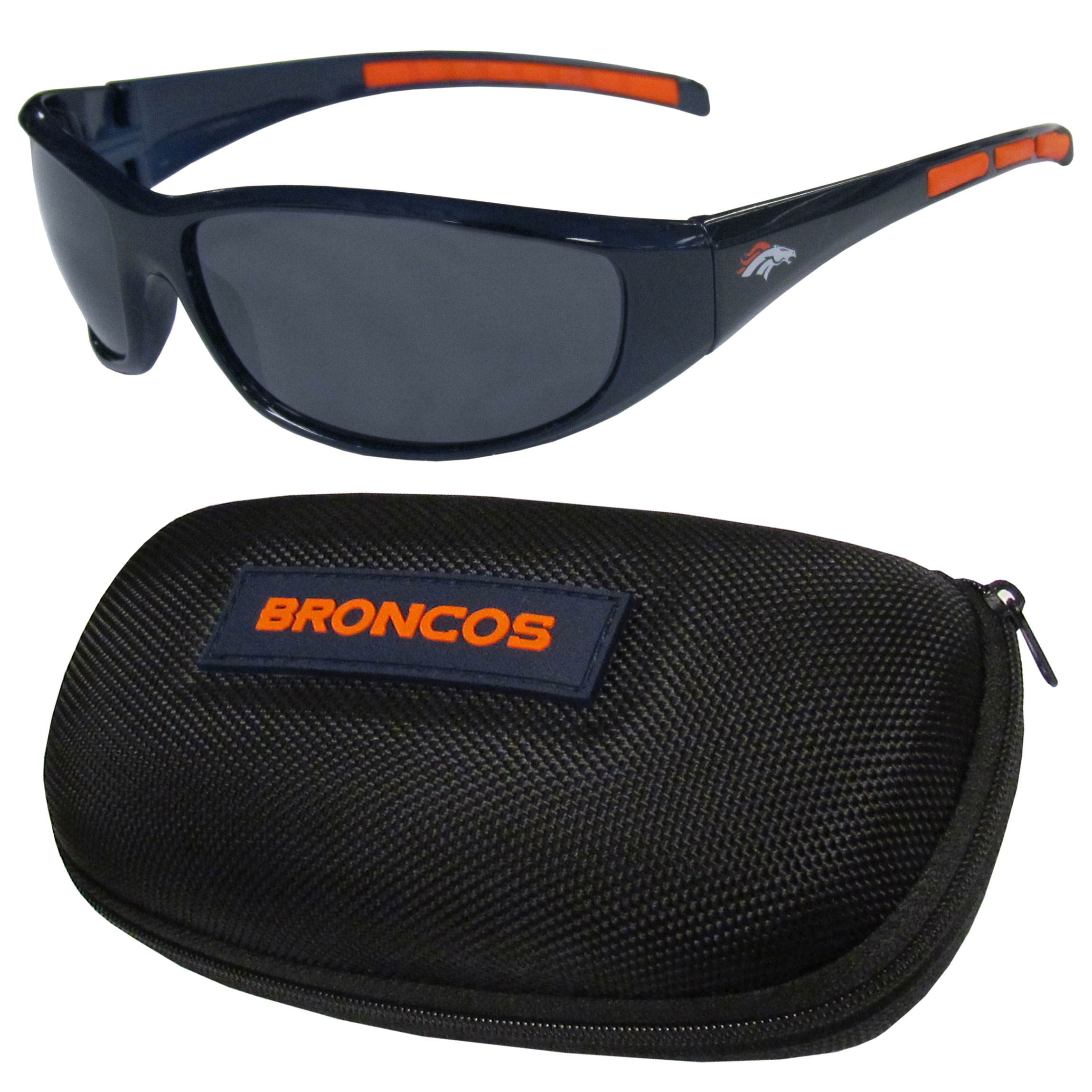 Denver Broncos Wrap Sunglass and Case Set - This great set includes a high quality pair of Denver Broncos wrap sunglasses and hard carrying case.