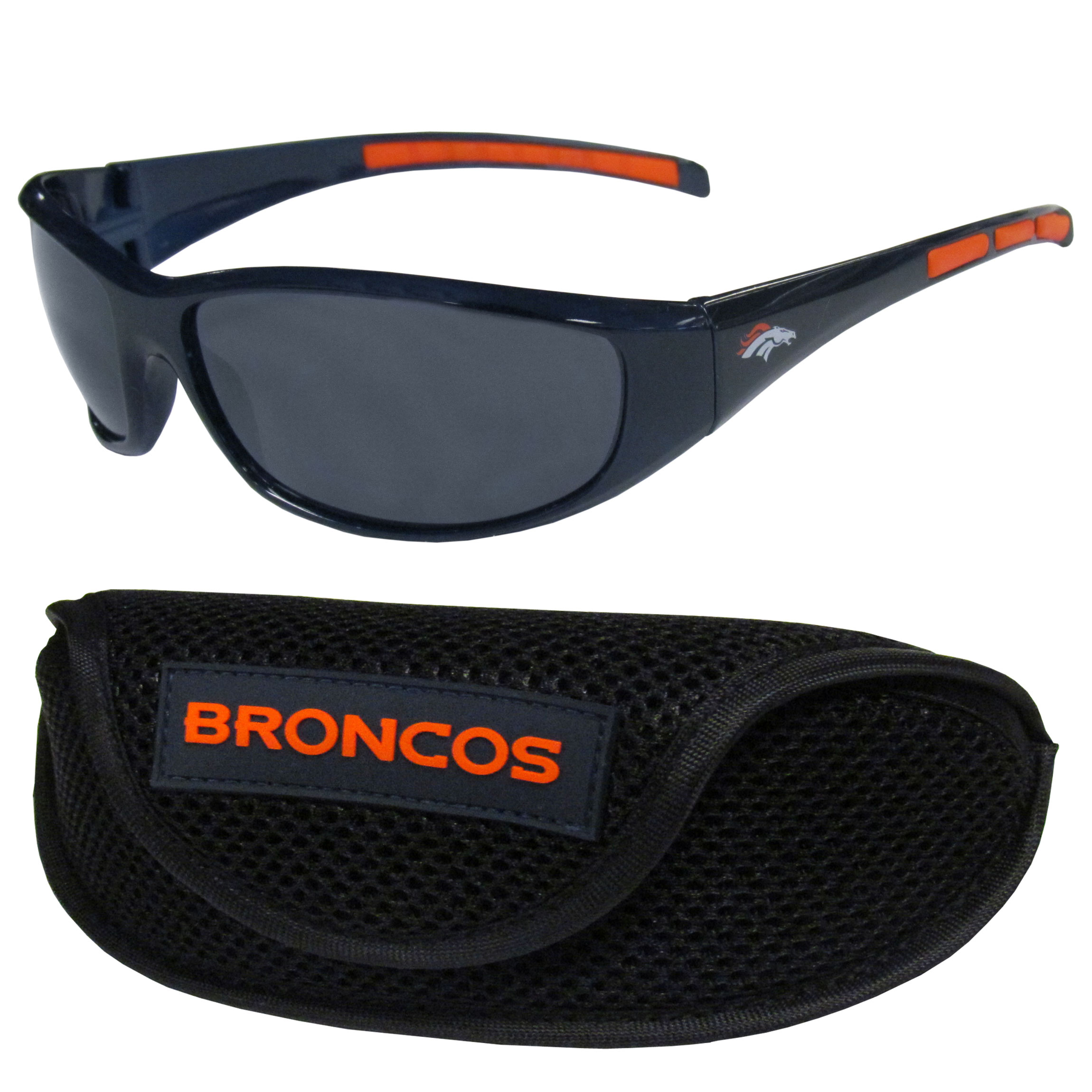 Denver Broncos Wrap Sunglass and Case Set - This great set includes a high quality pair of Denver Broncos wrap sunglasses and sport carrying case.