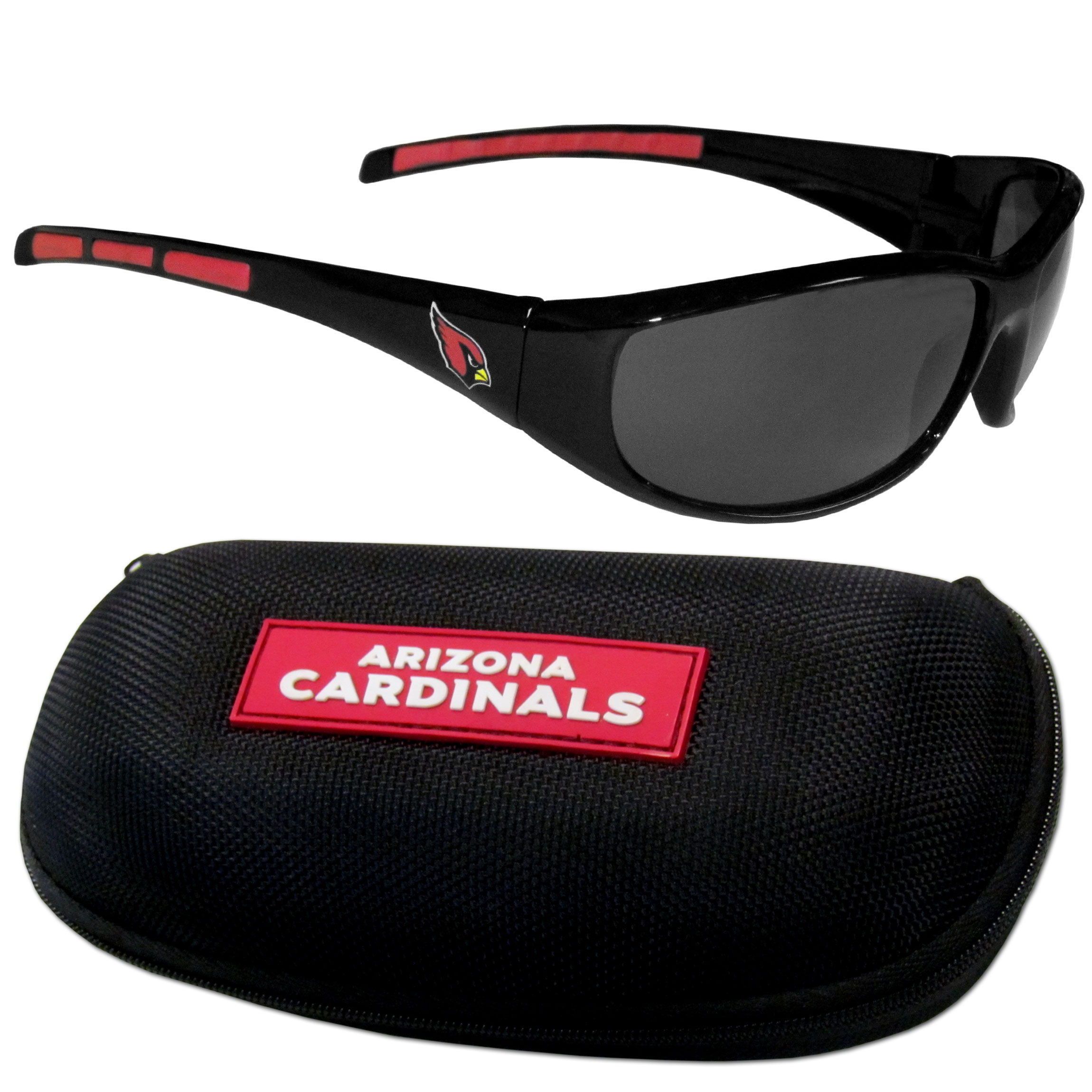 Arizona Cardinals Wrap Sunglass and Case Set - This great set includes a high quality pair of Arizona Cardinals wrap sunglasses and hard carrying case.