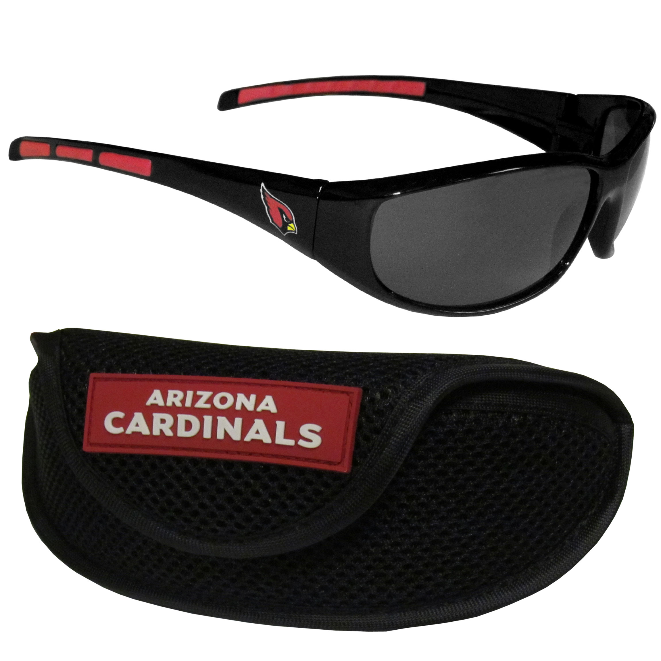 Arizona Cardinals Wrap Sunglass and Case Set - This great set includes a high quality pair of Arizona Cardinals wrap sunglasses and sport carrying case.