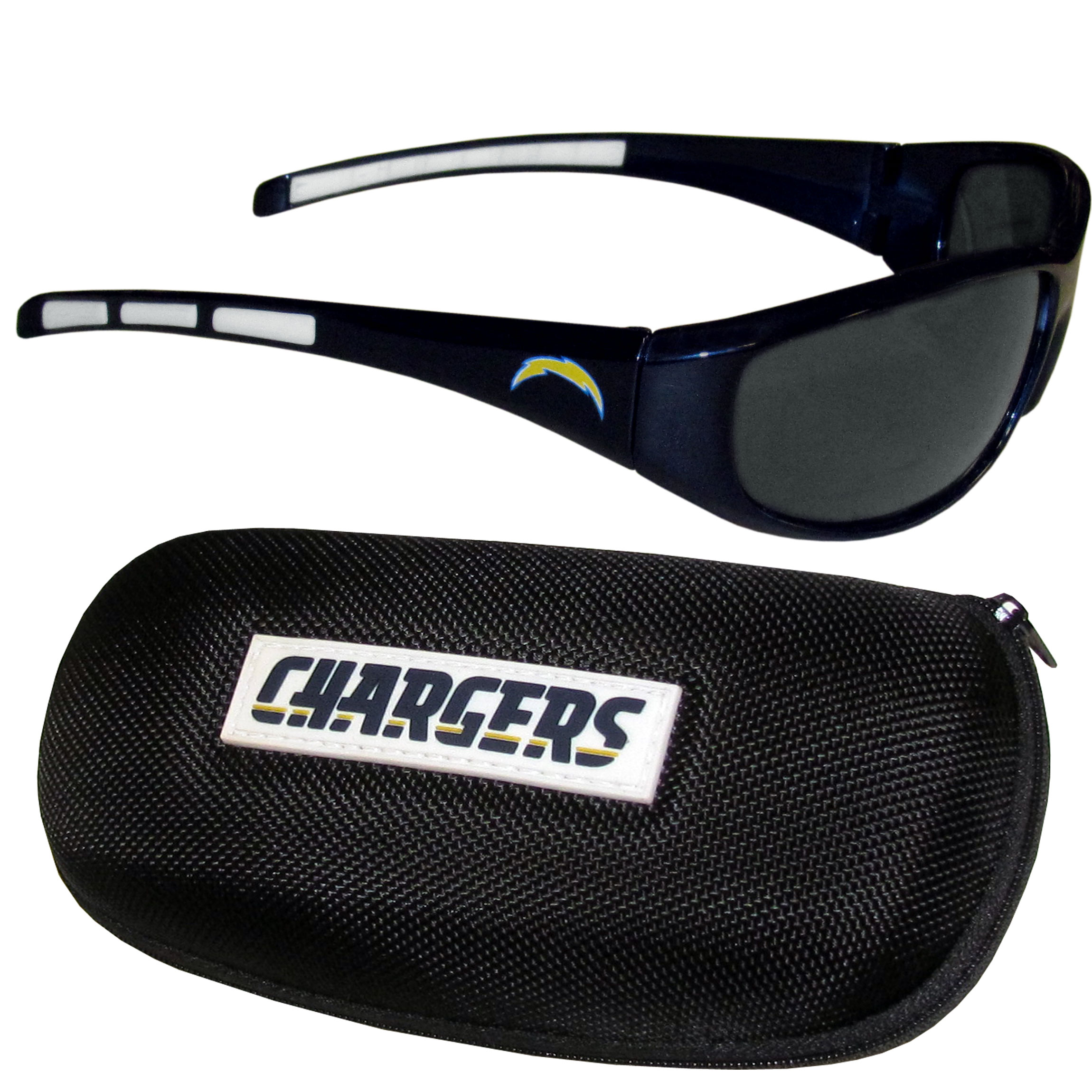 Los Angeles Chargers Wrap Sunglass and Case Set -  This great set includes a high quality pair of Los Angeles Chargers wrap sunglasses and hard carrying case.