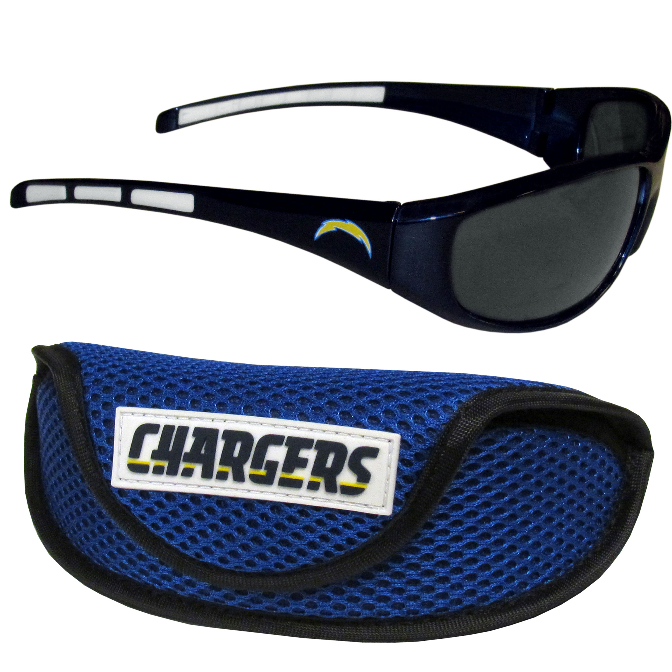 Los Angeles Chargers Wrap Sunglass and Case Set - This great set includes a high quality pair of Los Angeles Chargers wrap sunglasses and sport carrying case.