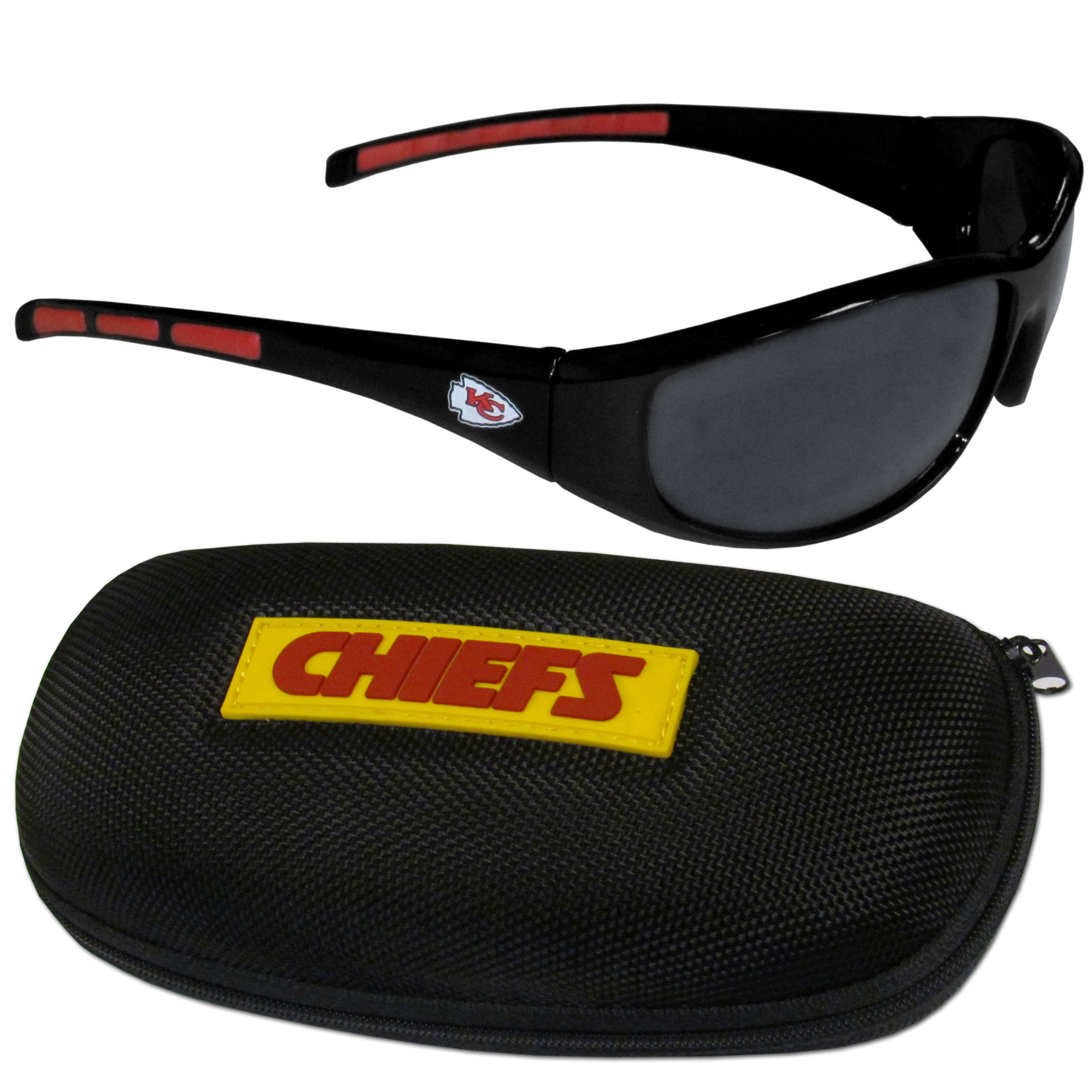 Kansas City Chiefs Wrap Sunglass and Case Set - This great set includes a high quality pair of Kansas City Chiefs wrap sunglasses and hard carrying case.