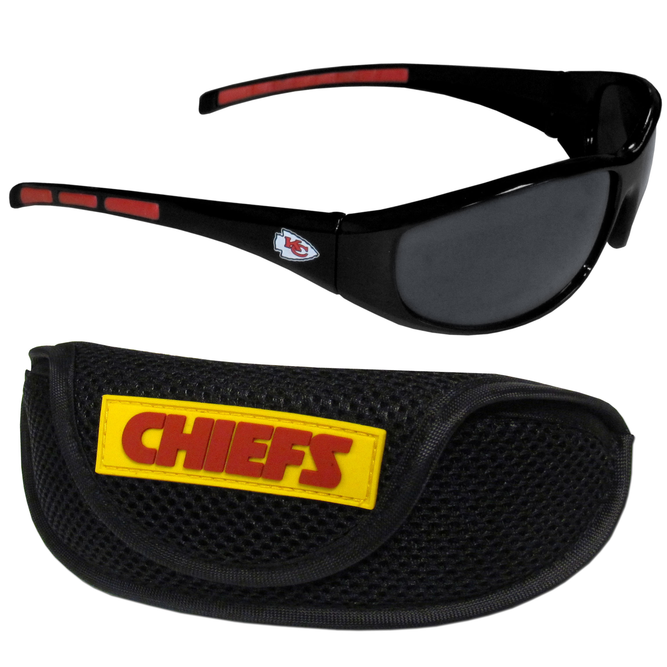 Kansas City Chiefs Wrap Sunglass and Case Set - This great set includes a high quality pair of Kansas City Chiefs wrap sunglasses and sport carrying case.