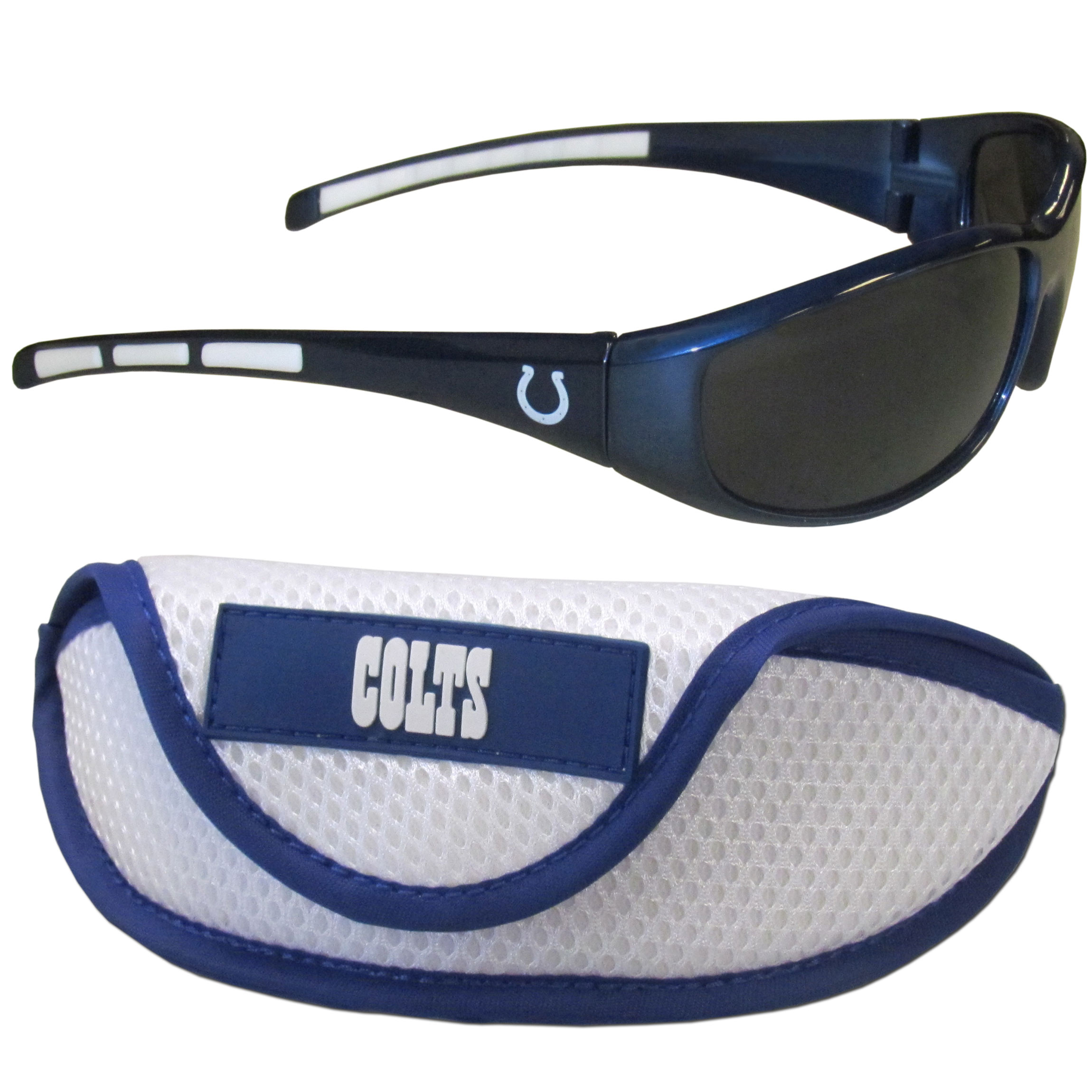 Indianapolis Colts Wrap Sunglass and Case Set - This great set includes a high quality pair of Indianapolis Colts wrap sunglasses and sport carrying case.