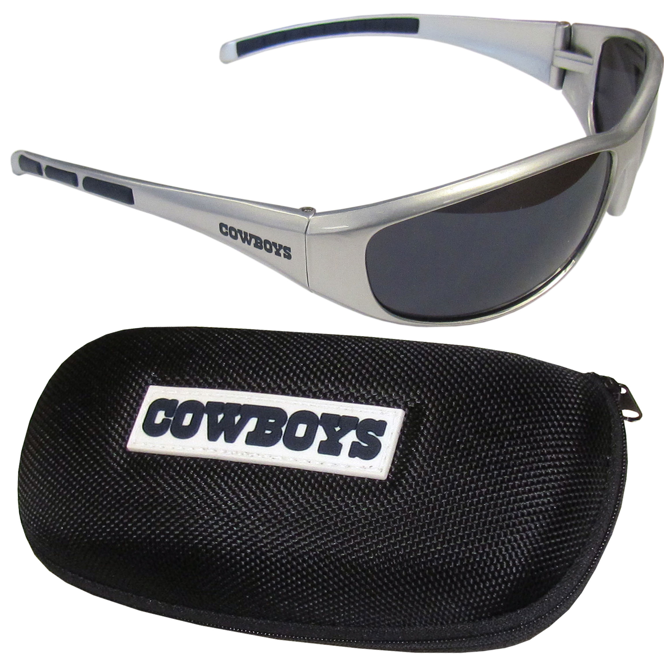 Dallas Cowboys Wrap Sunglass and Case Set - This great set includes a high quality pair of Dallas Cowboys wrap sunglasses and hard carrying case.