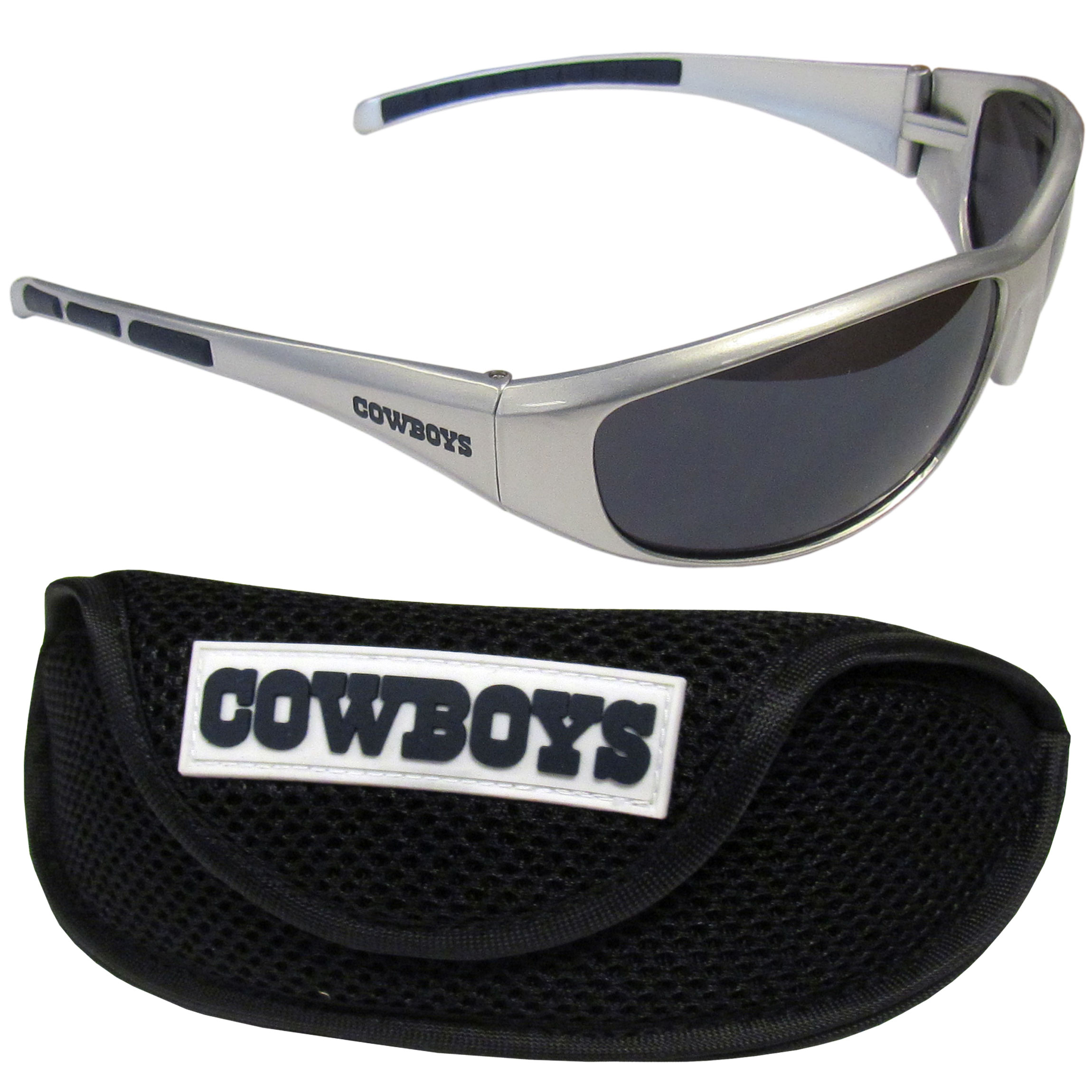 Dallas Cowboys Wrap Sunglass and Case Set - This great set includes a high quality pair of Dallas Cowboys wrap sunglasses and sport carrying case.