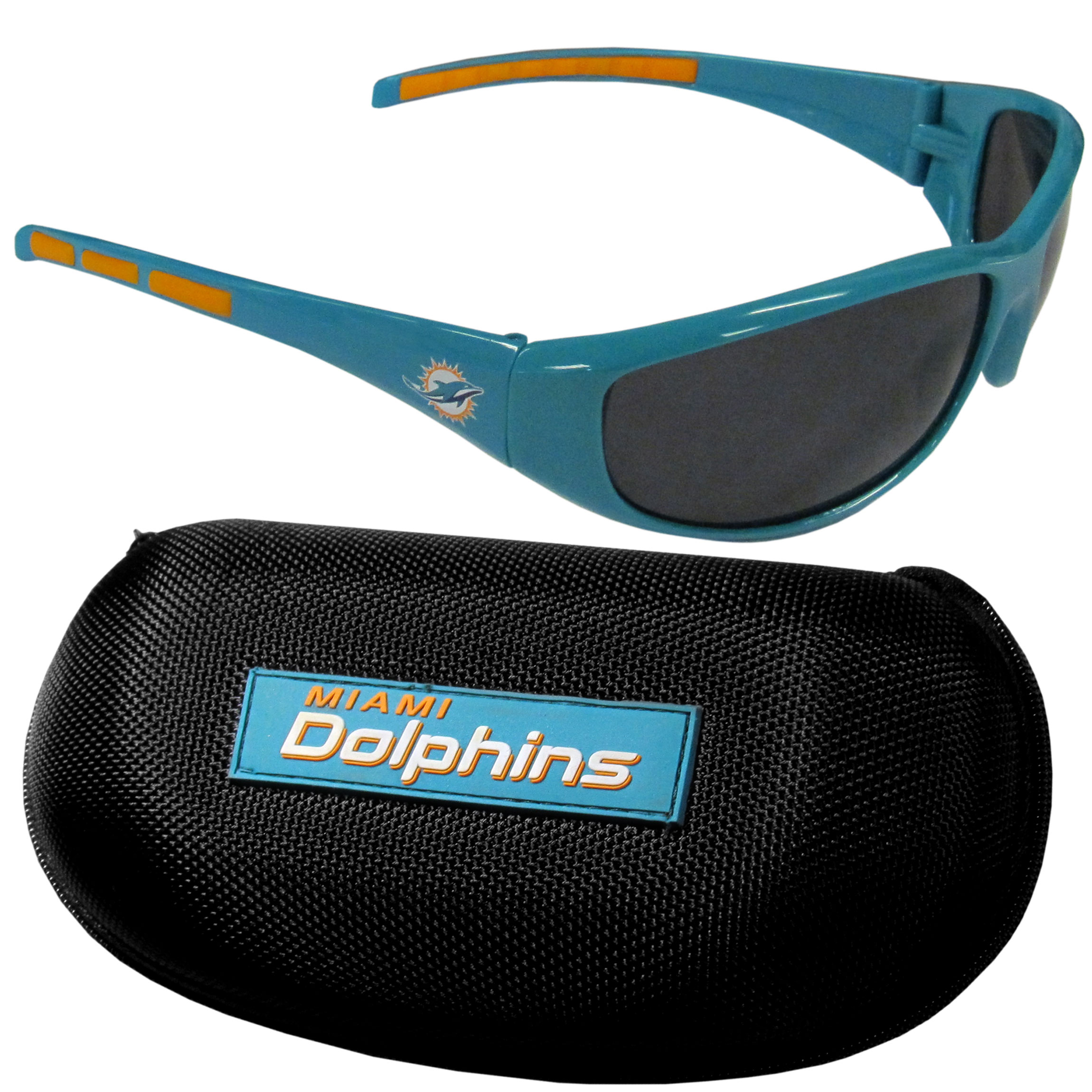 Miami Dolphins Wrap Sunglass and Case Set - This great set includes a high quality pair of Miami Dolphinswrap sunglasses and hard carrying case.