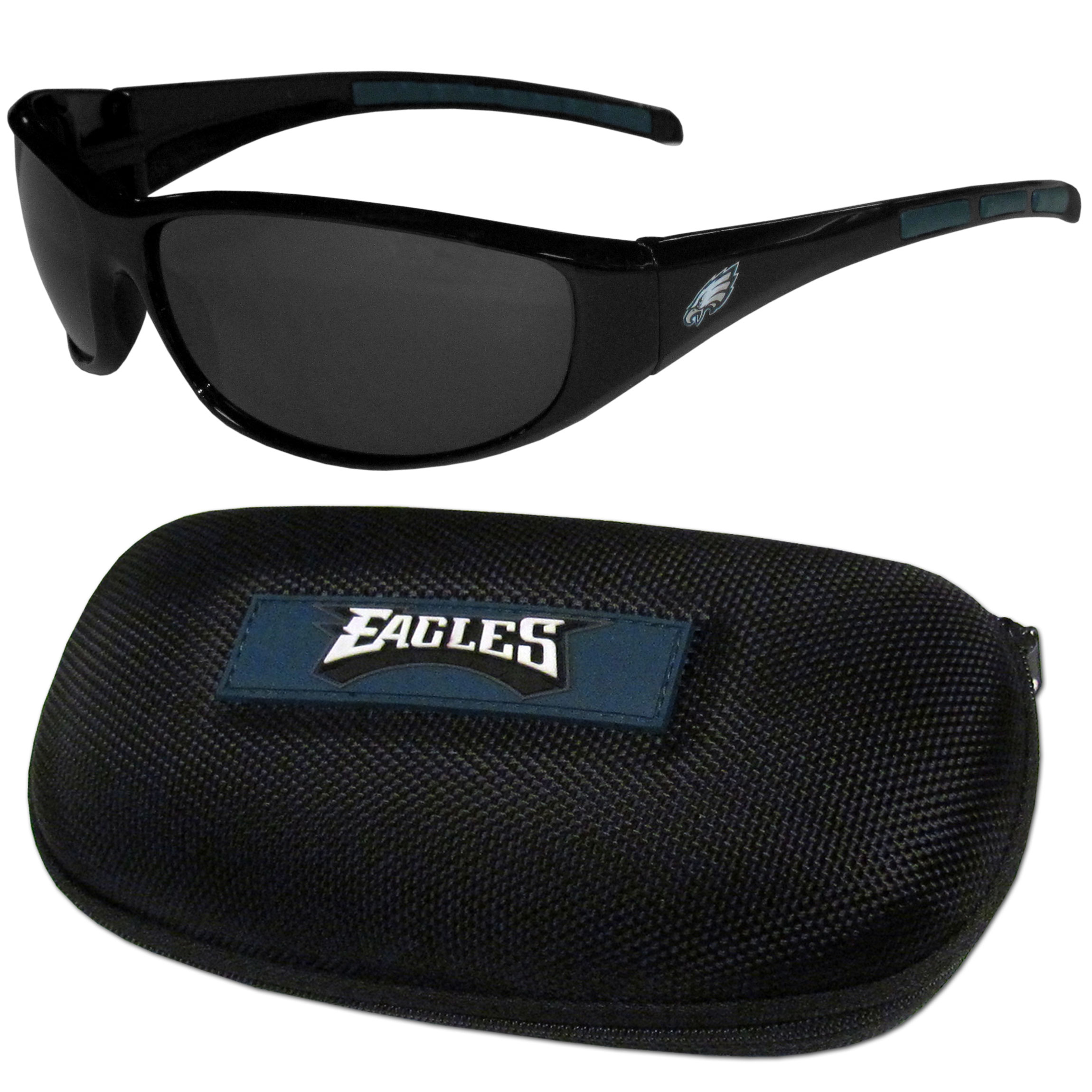 Philadelphia Eagles Wrap Sunglass and Case Set - This great set includes a high quality pair of Philadelphia Eagles wrap sunglasses and hard carrying case.