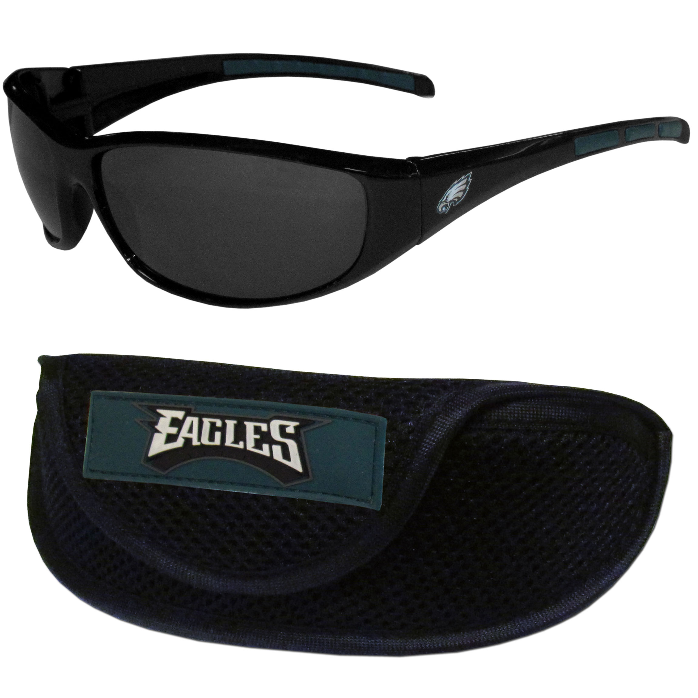 Philadelphia Eagles Wrap Sunglass and Case Set - This great set includes a high quality pair of  Philadelphia Eagles wrap sunglasses and sport carrying case.