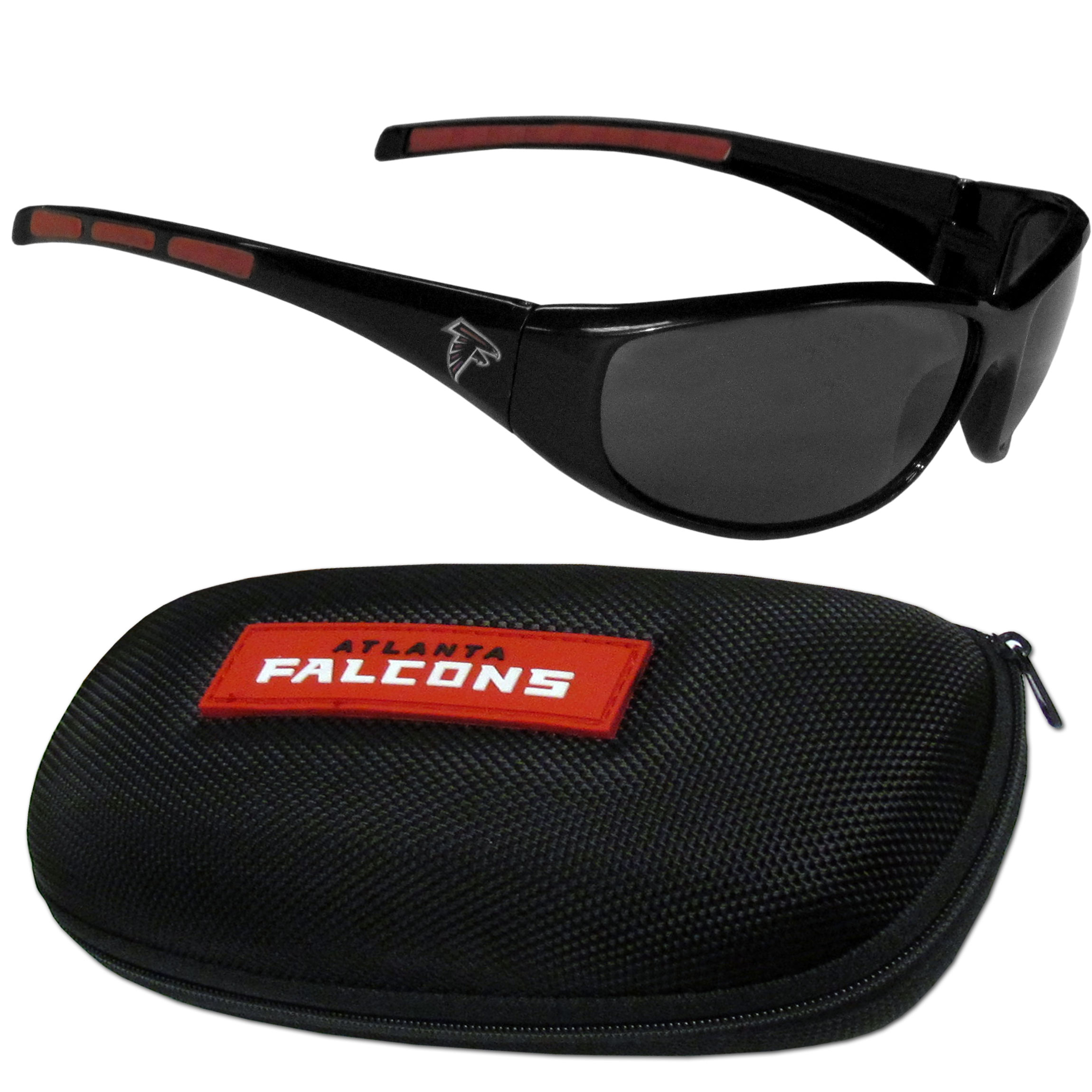 Atlanta Falcons Wrap Sunglass and Case Set - This great set includes a high quality pair of Atlanta Falcons wrap sunglasses and hard carrying case.