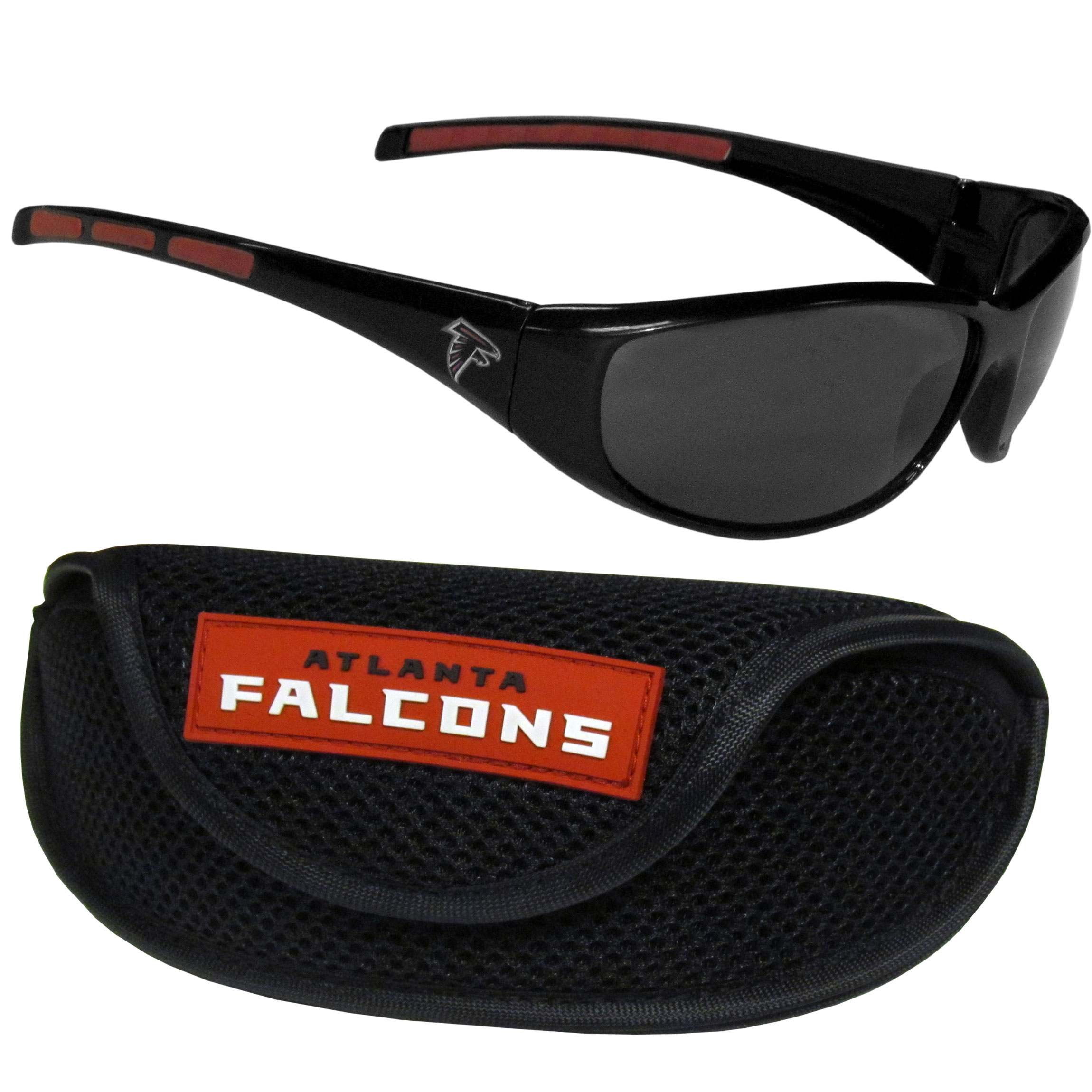 Atlanta Falcons Wrap Sunglass and Case Set - This great set includes a high quality pair of Atlanta Falcons wrap sunglasses and sport carrying case.