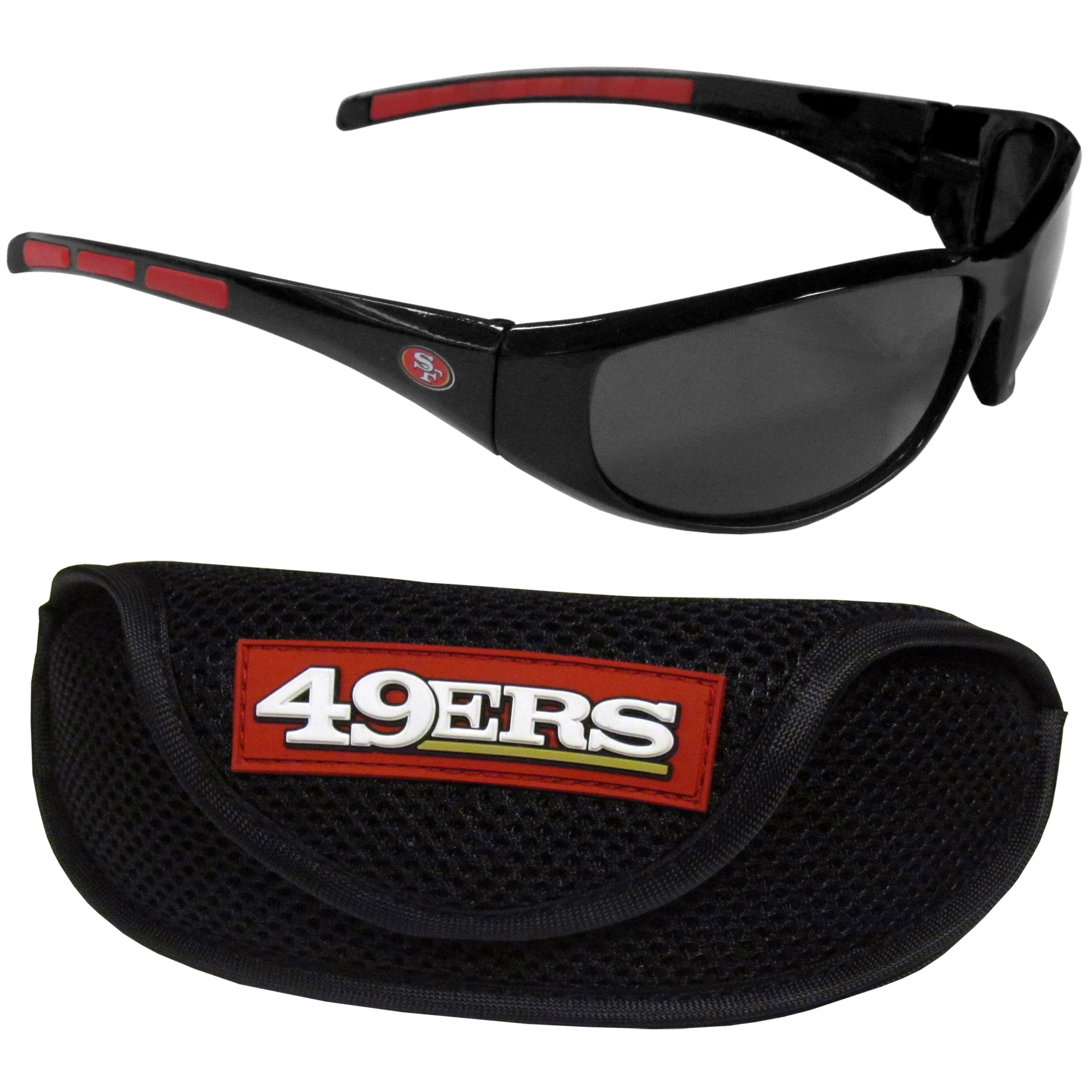San Francisco 49ers Wrap Sunglass and Case Set - This great set includes a high quality pair of San Francisco 49ers wrap sunglasses and sport carrying case.