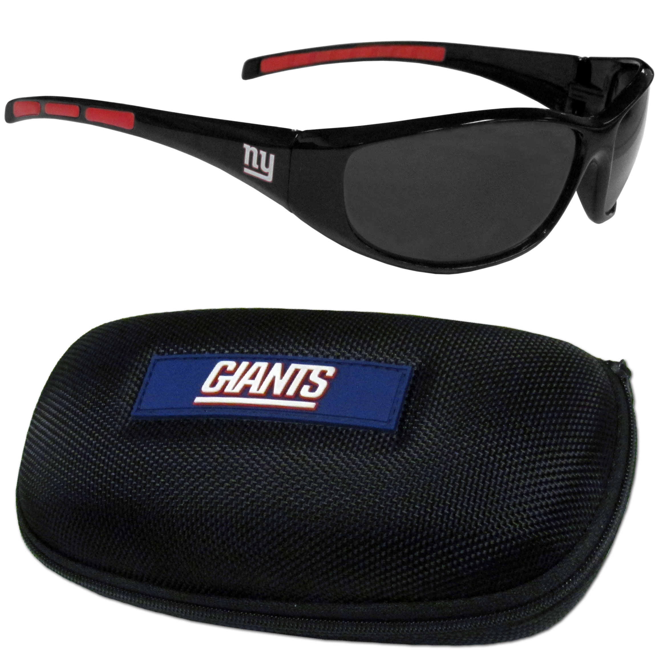 New York Giants Wrap Sunglass and Case Set - This great set includes a high quality pair of New York Giants wrap sunglasses and hard carrying case.