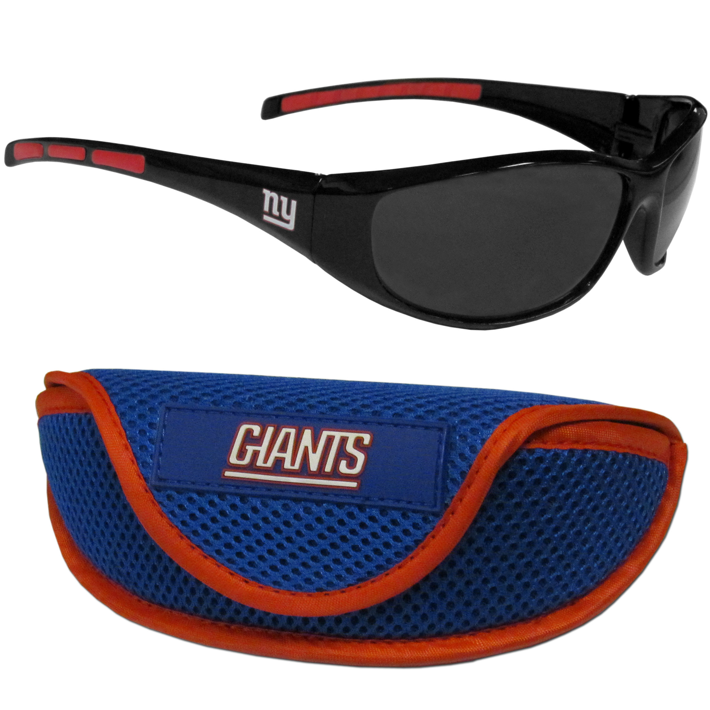 New York Giants Wrap Sunglass and Case Set - This great set includes a high quality pair of New York Giants wrap sunglasses and sport carrying case.