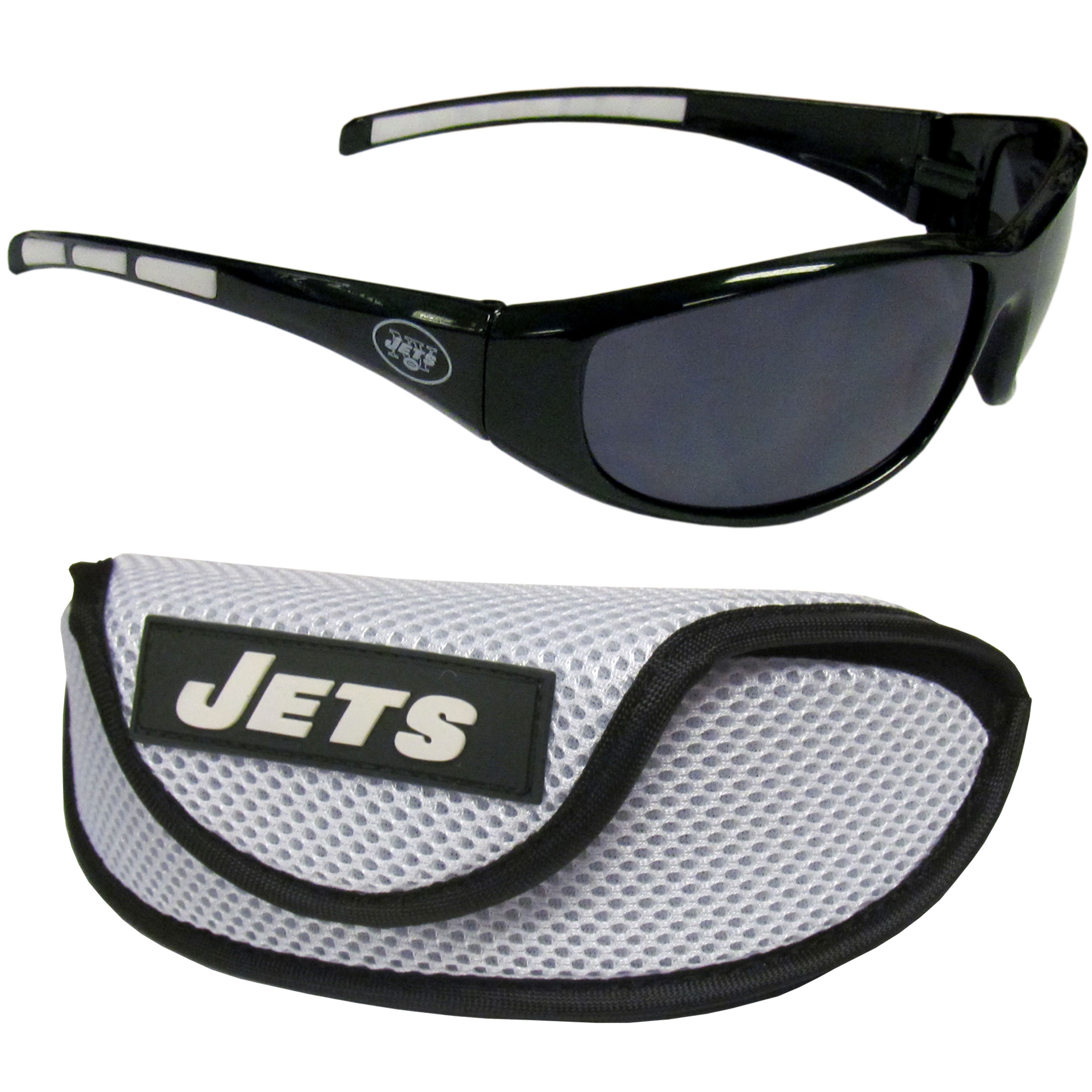 New York Jets Wrap Sunglass and Case Set - This great set includes a high quality pair of  New York Jets wrap sunglasses and sport carrying case.