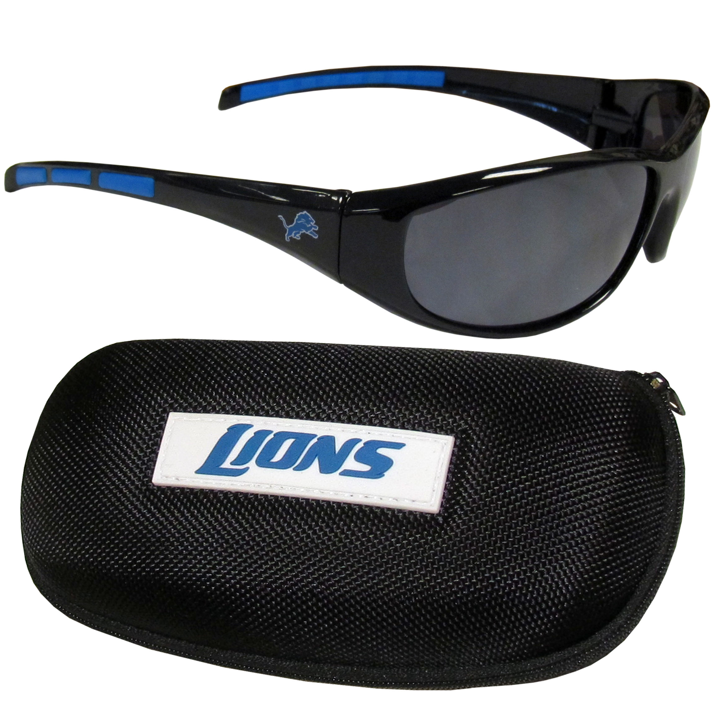 Detroit Lions Wrap Sunglass and Case Set - This great set includes a high quality pair of Detroit Lions wrap sunglasses and hard carrying case.